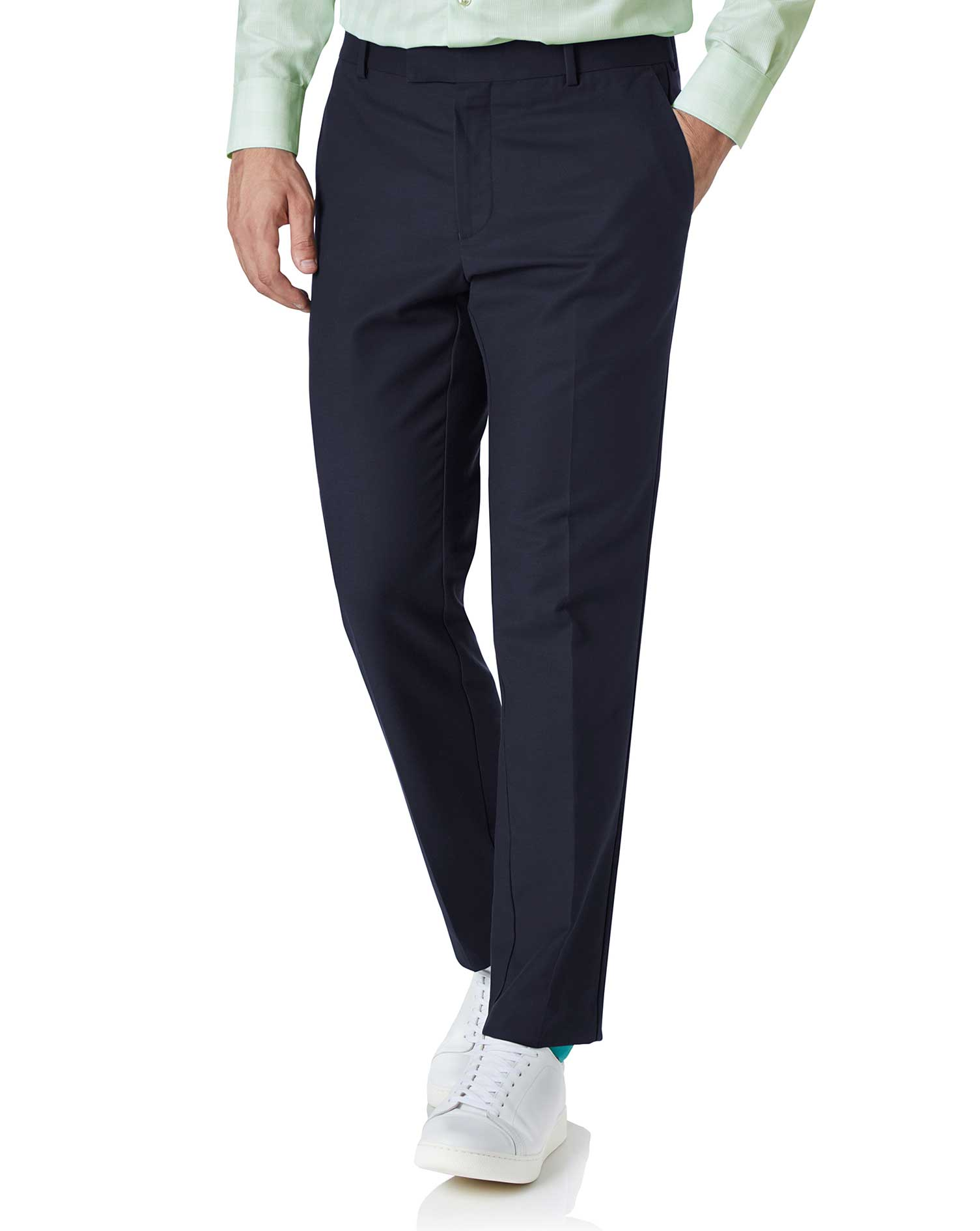 Navy Slim Fit Natural Performance Trouser Size W40 L32 by Charles Tyrwhitt