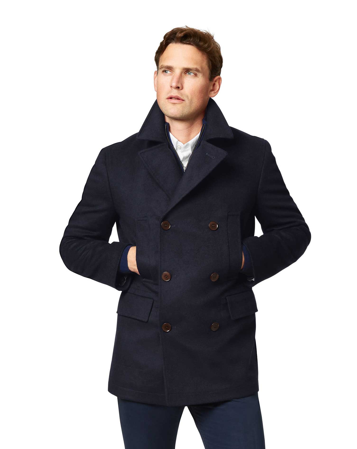 Navy Wool Cashmere Pea Coat Size 44 Regular by Charles Tyrwhitt
