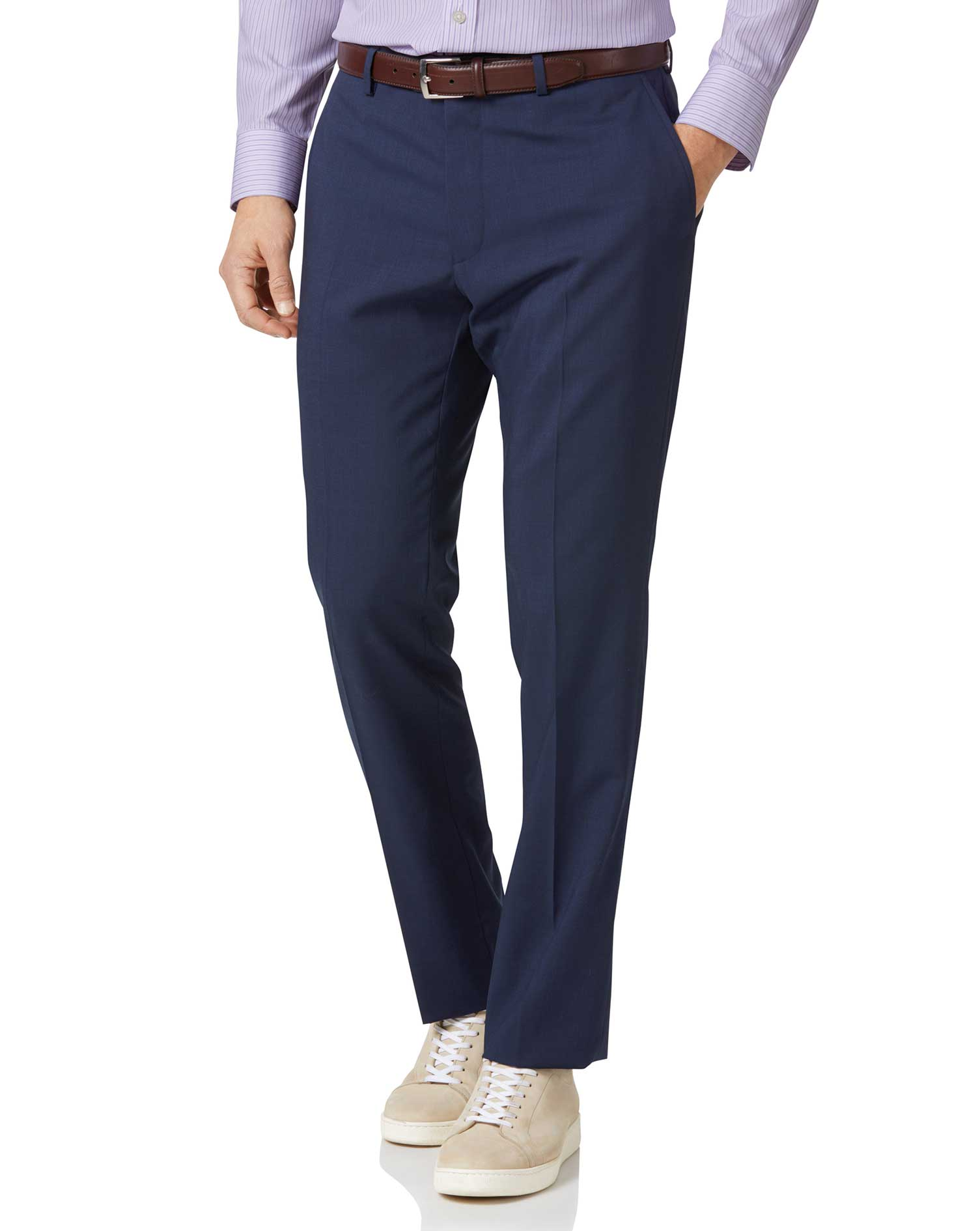 Navy Slim Fit Step Weave Suit Trousers Size W34 L34 by Charles Tyrwhitt