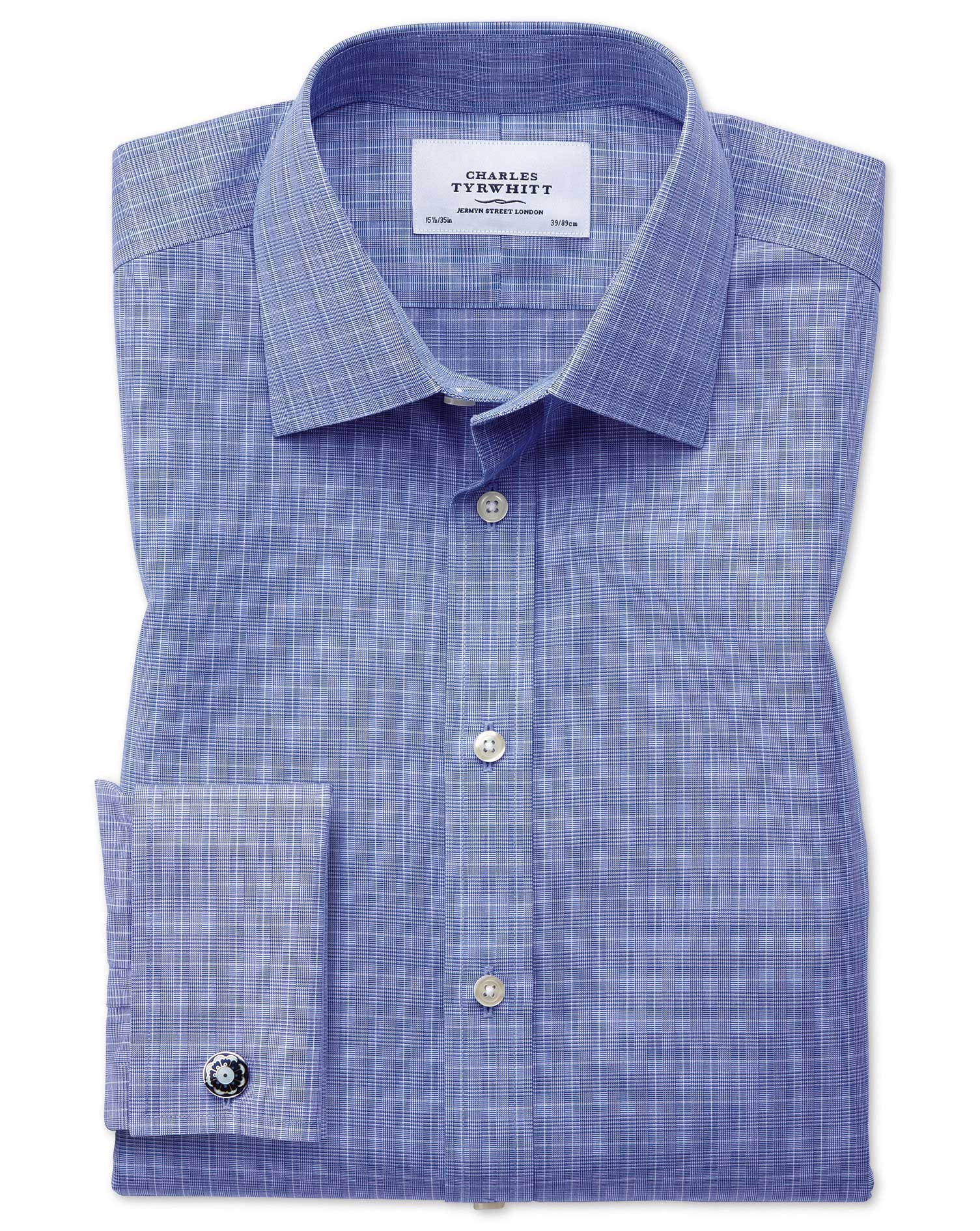 Slim Fit Non-Iron Prince Of Wales Blue Cotton Formal Shirt Single Cuff Size 15.5/34 by Charles Tyrwh