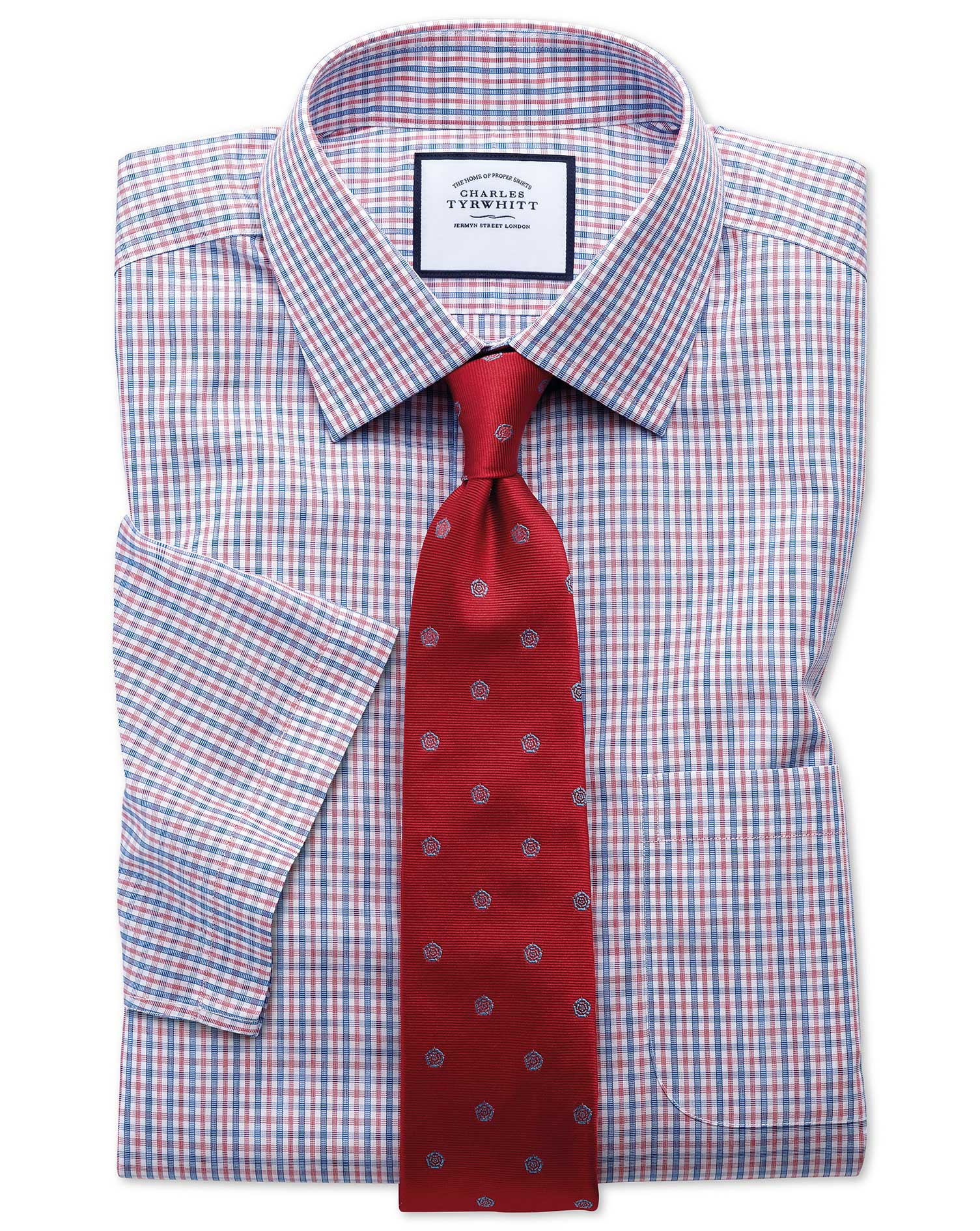 Slim Fit Non-Iron Poplin Short Sleeve Blue and Red Cotton Formal Shirt Size 18/Short by Charles Tyrw