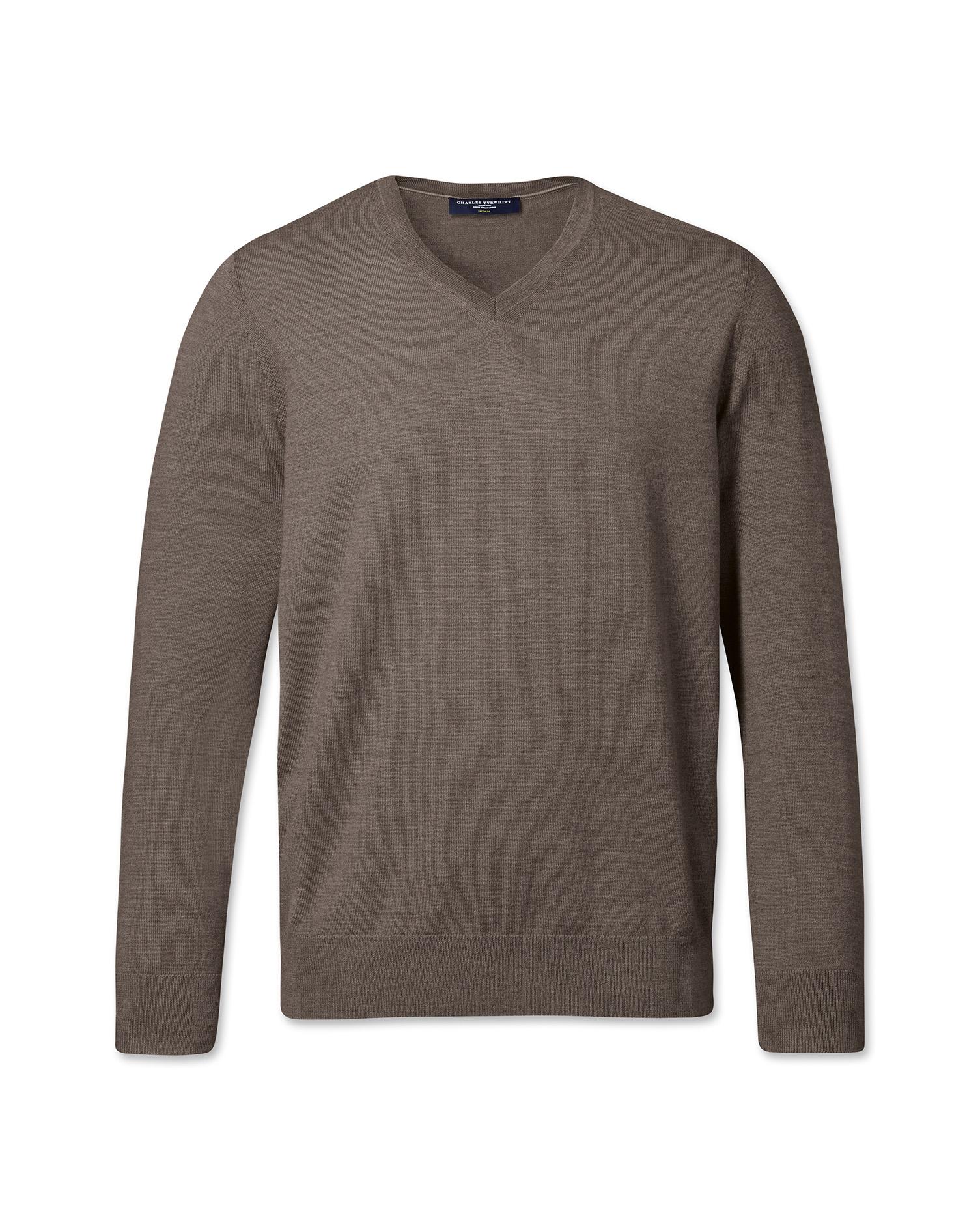 Mocha Merino Wool V-Neck Jumper Size Medium by Charles Tyrwhitt
