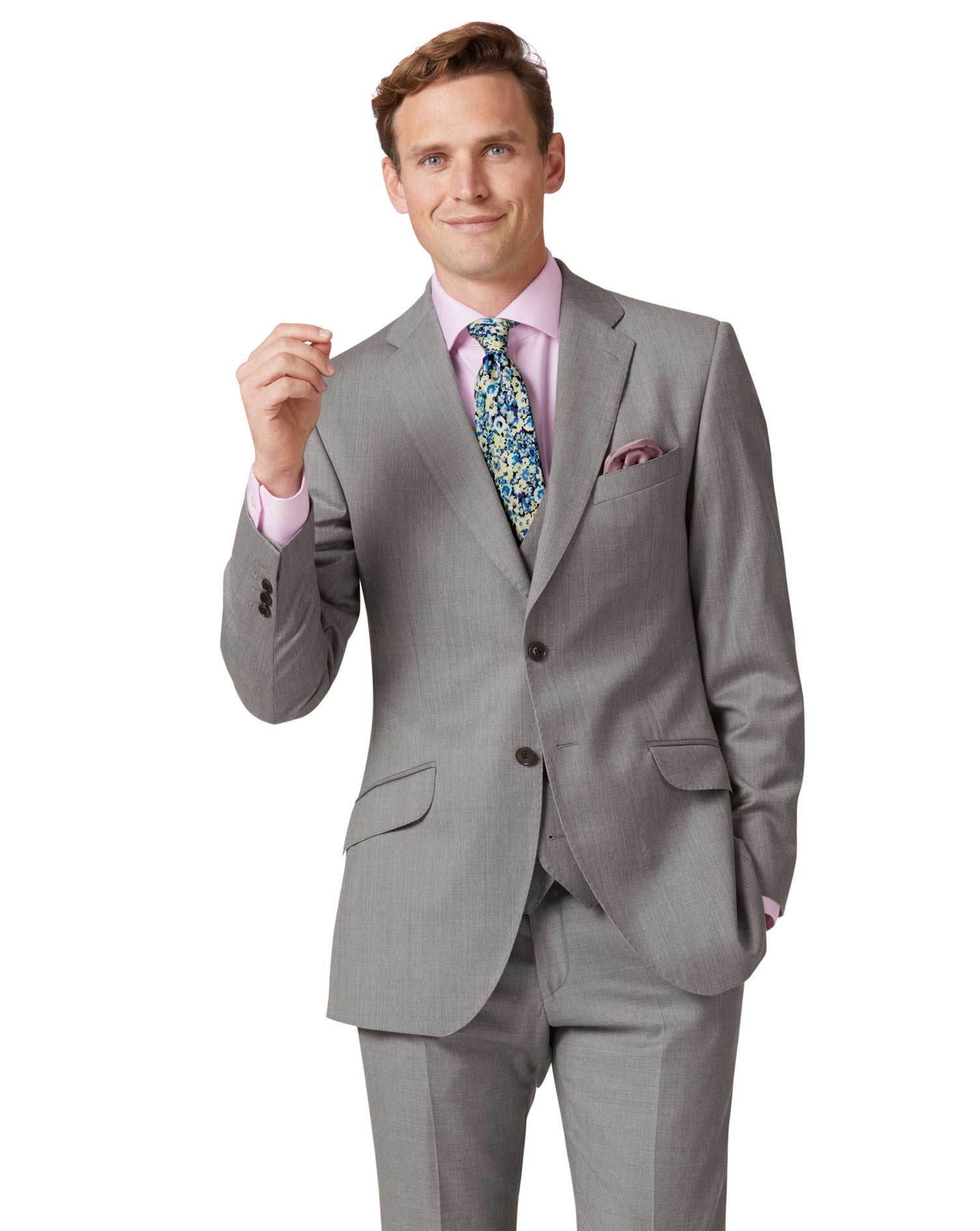 Silver Slim Fit Italian Suit Wool Jacket Size 36 Regular by Charles Tyrwhitt