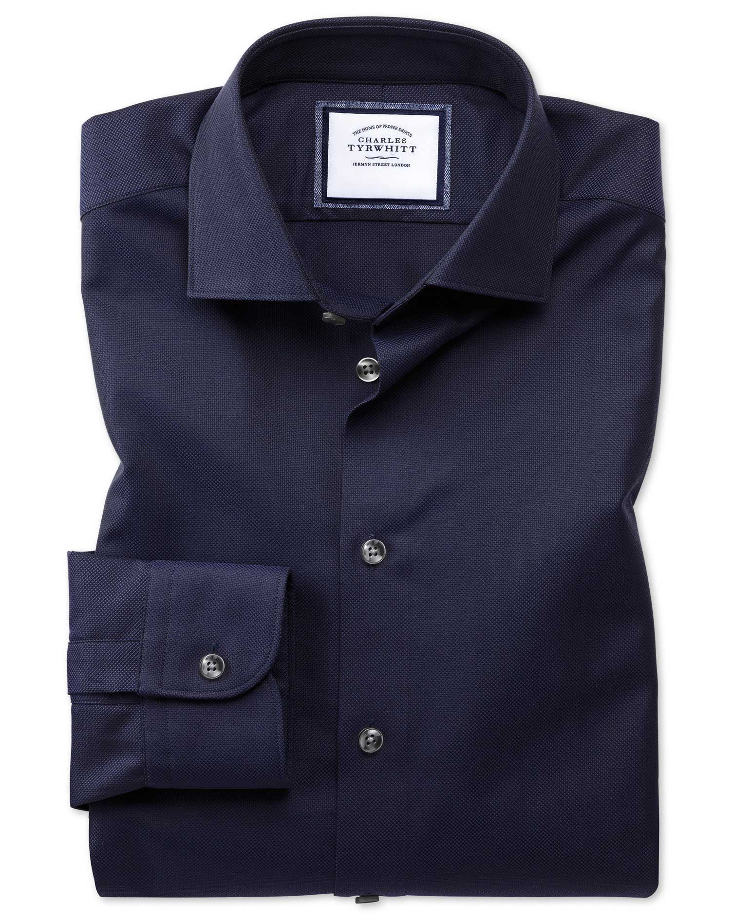 Extra Slim Fit Semi-Cutaway Business Casual Navy Textured Egyptian Cotton Formal Shirt Single Cuff S