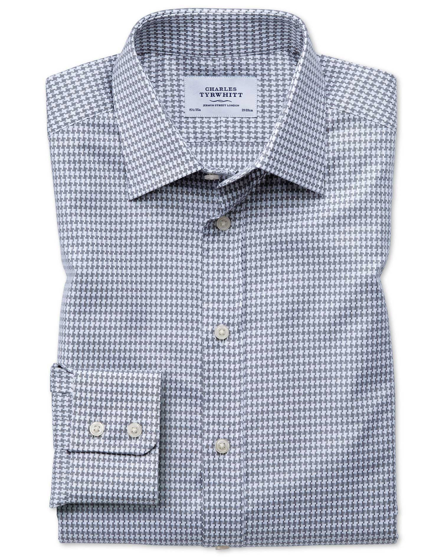 Classic Fit Large Puppytooth Light Grey Cotton Formal Shirt Single Cuff Size 17.5/34 by Charles Tyrw