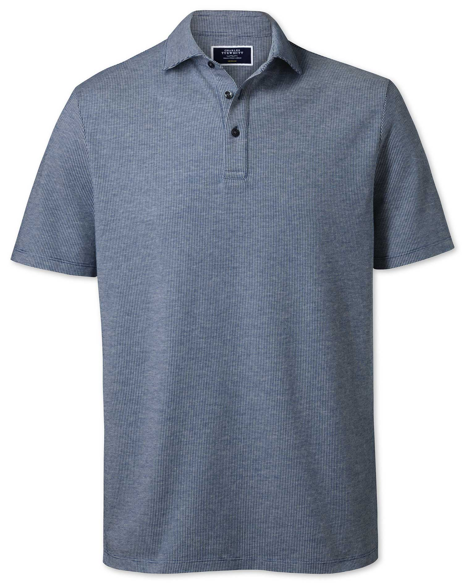 Blue and White Textured Cotton Polo Size Large by Charles Tyrwhitt