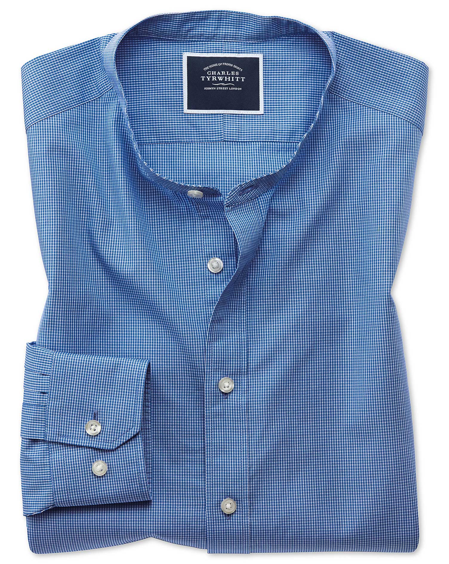 Slim Fit Blue Check Collarless Cotton Shirt Single Cuff Size Large by Charles Tyrwhitt