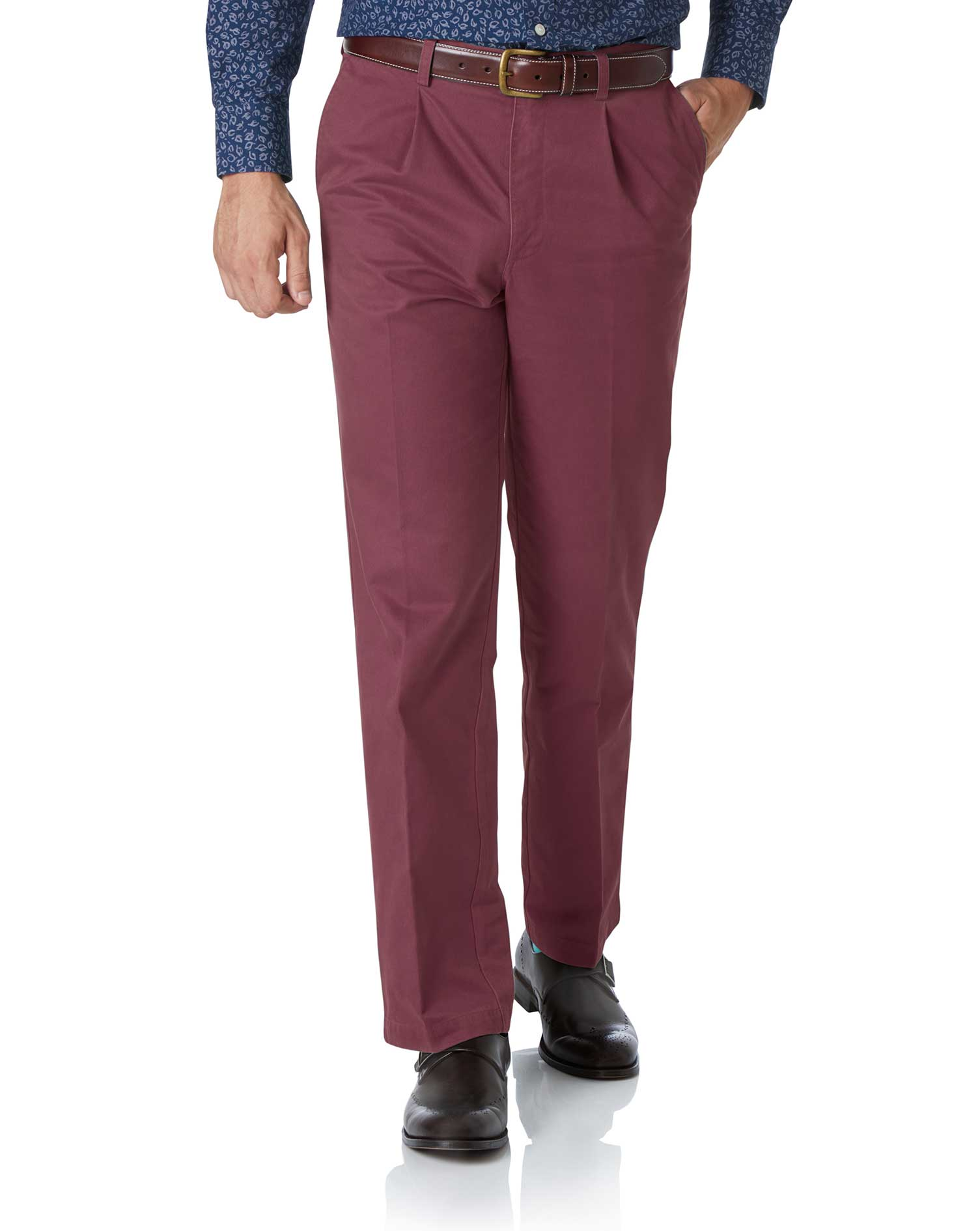 Dark Pink Classic Fit Single Pleat Washed Cotton Chino Trousers Size W36 L34 by Charles Tyrwhitt