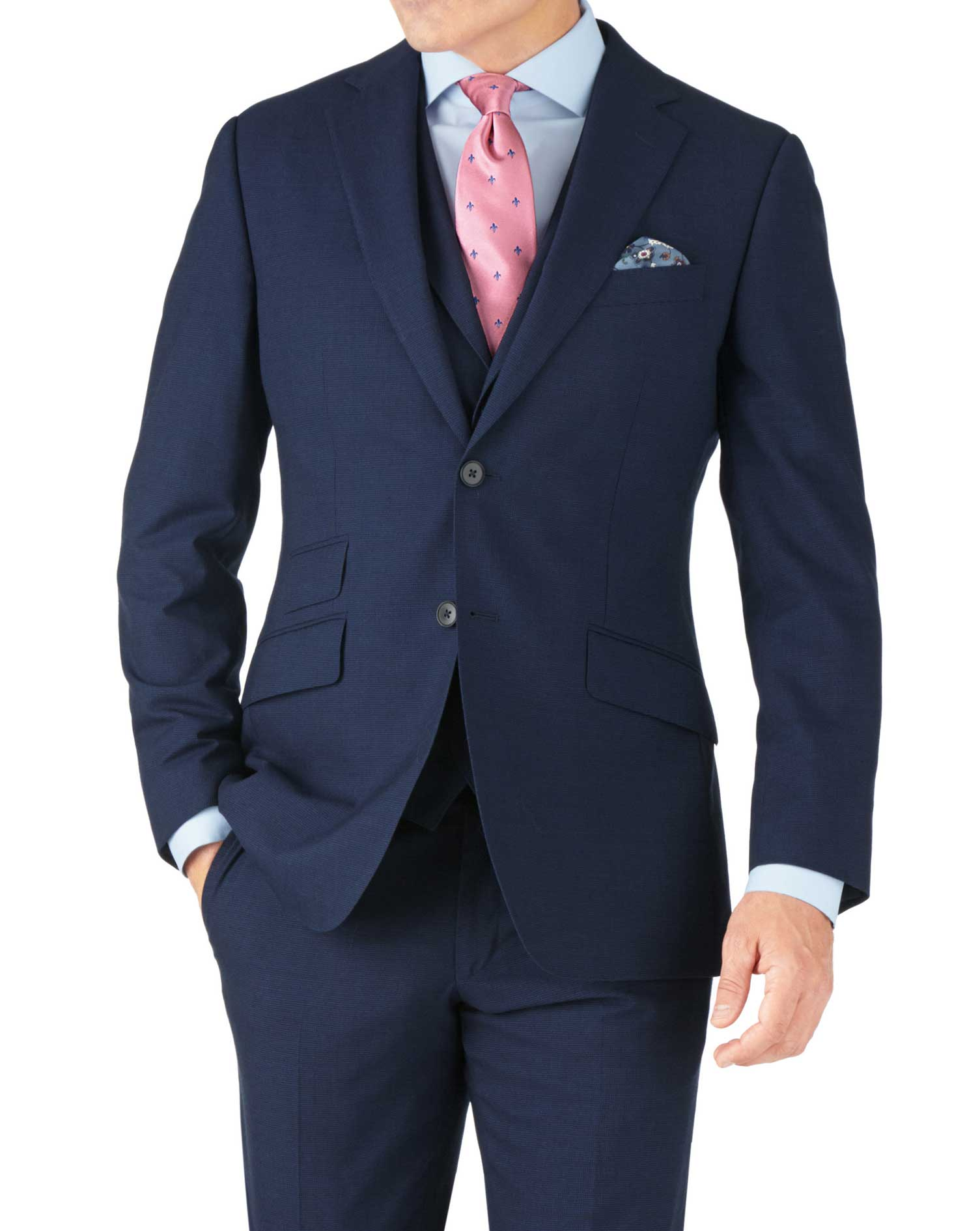 Indigo Blue Puppytooth Slim Fit Panama Business Suit Wool Jacket Size 46 Long by Charles Tyrwhitt