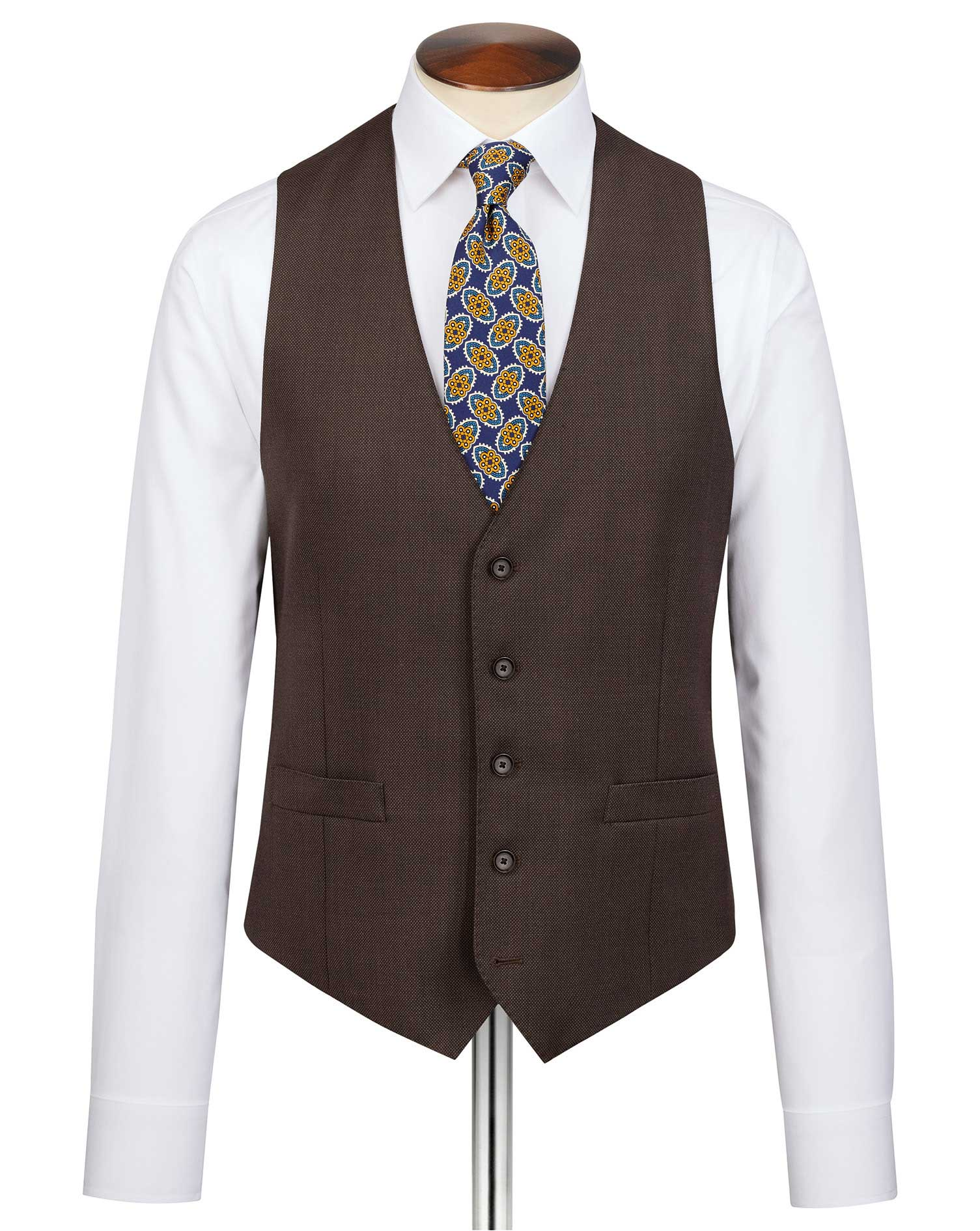 Brown Slim Fit Birdseye Travel Suit Wool Waistcoat Size w40 by Charles Tyrwhitt