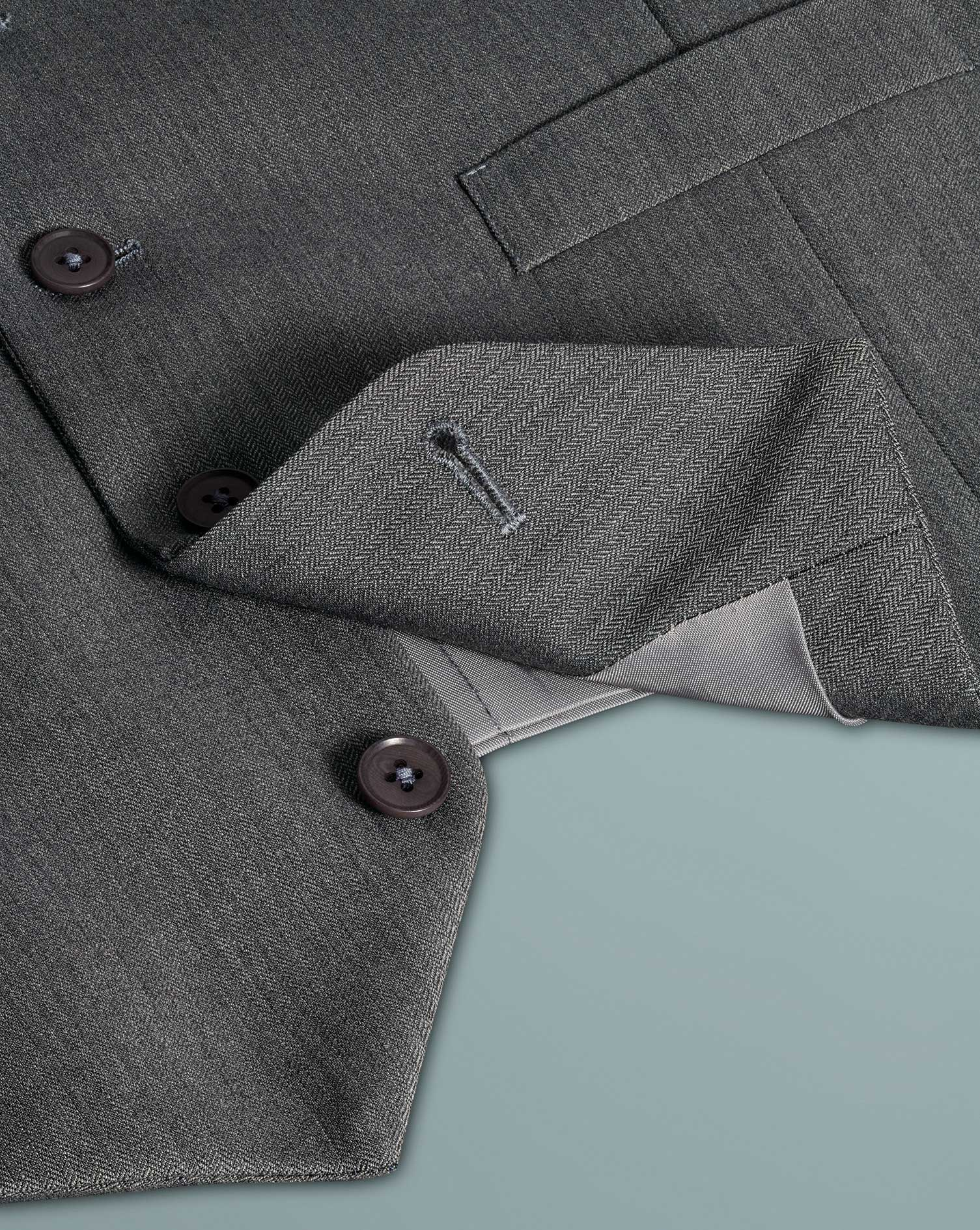 Light grey adjustable fit herringbone business suit vests