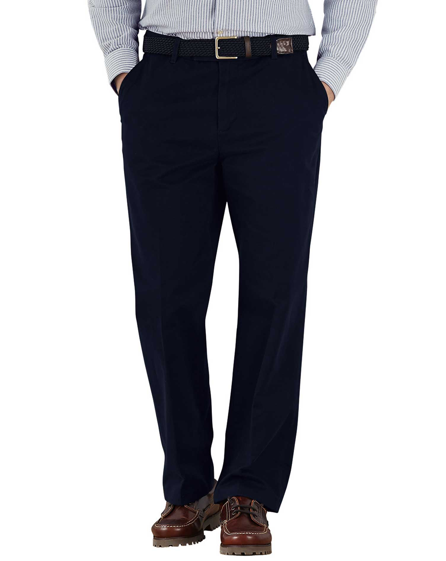 Navy Classic Fit Flat Front Weekend Cotton Chino Trousers Size W32 L29 by Charles Tyrwhitt