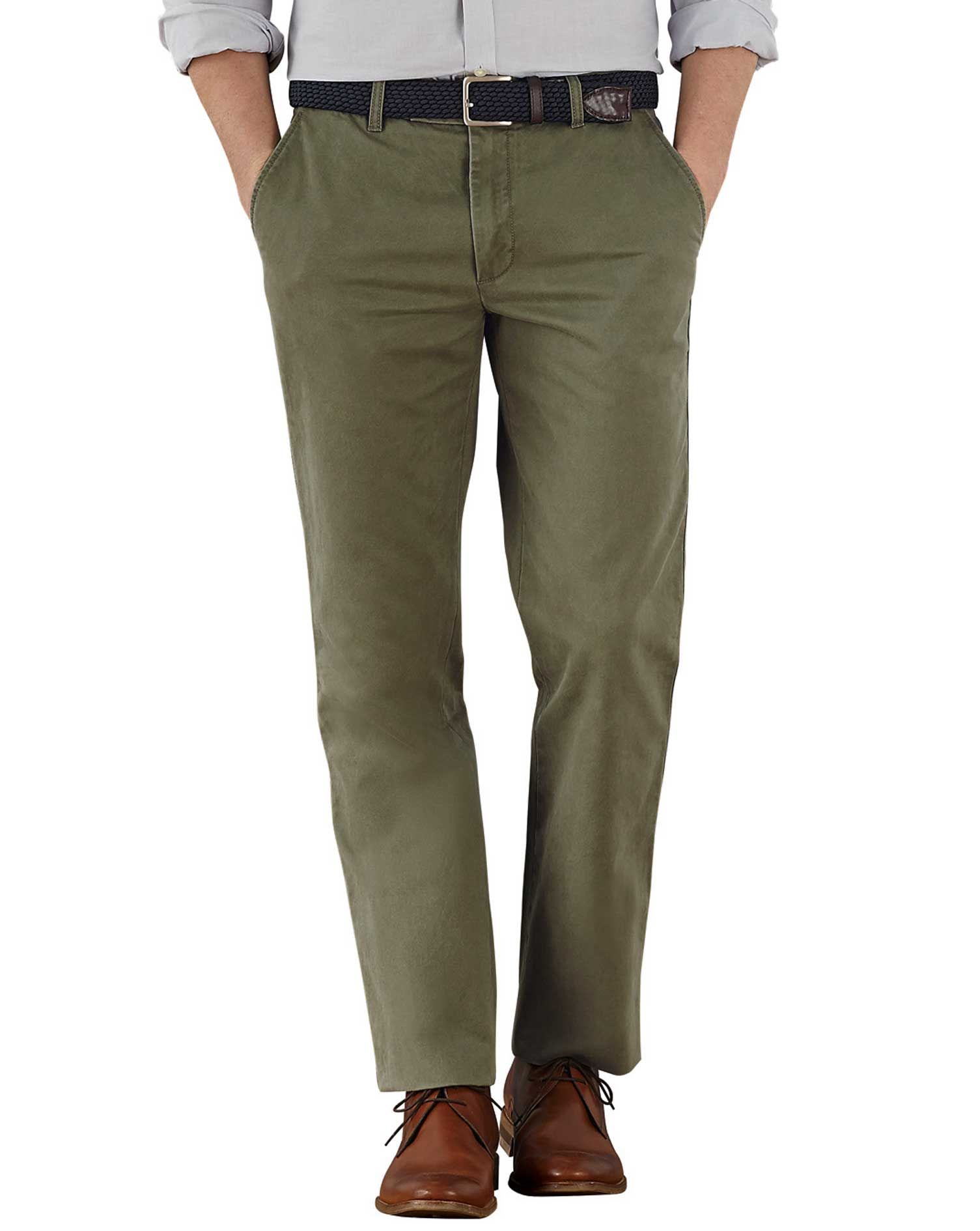 Olive Slim Fit Flat Front Cotton Chino Trousers Size W30 L34 by Charles Tyrwhitt