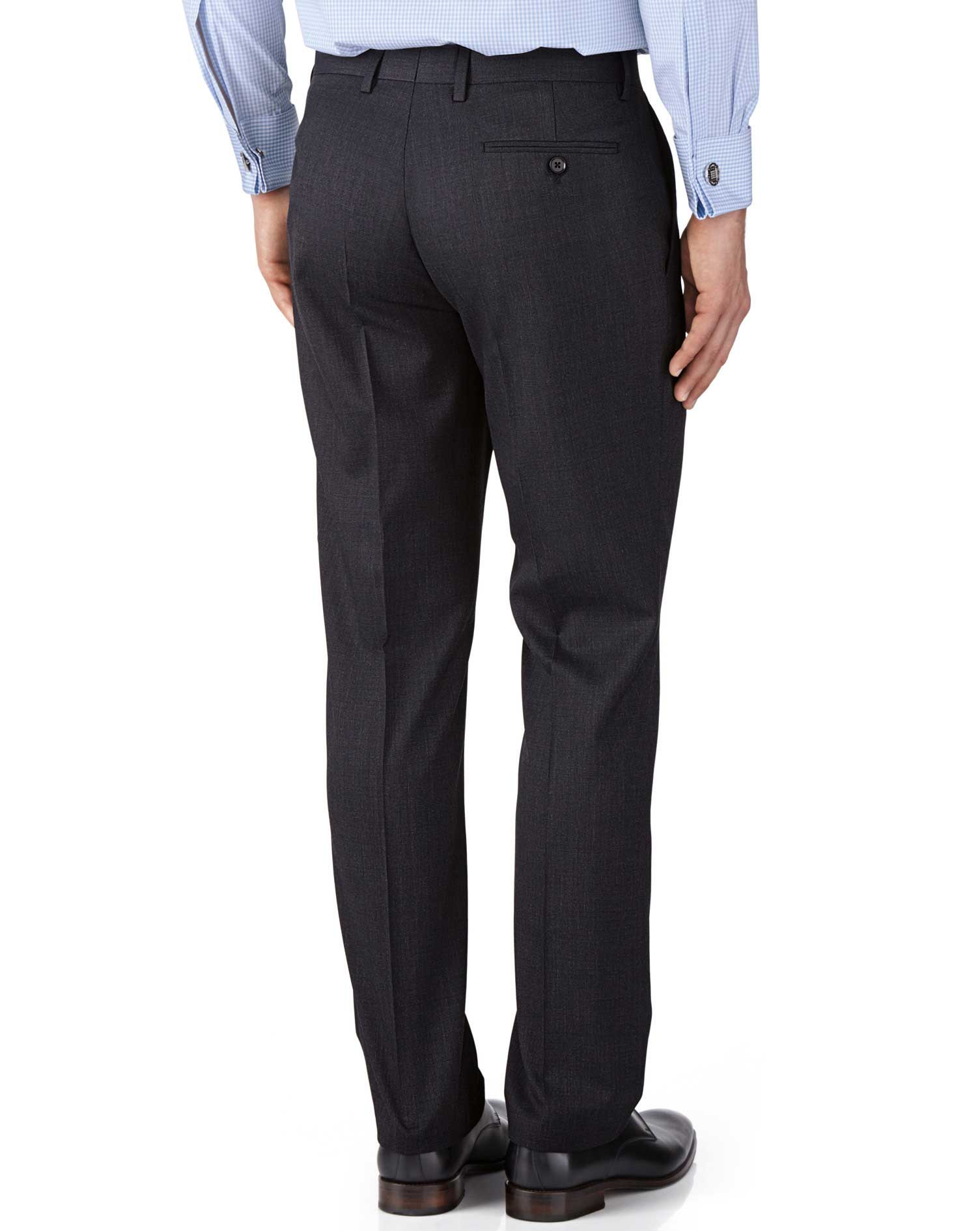Charcoal slim fit end-on-end business suit pants