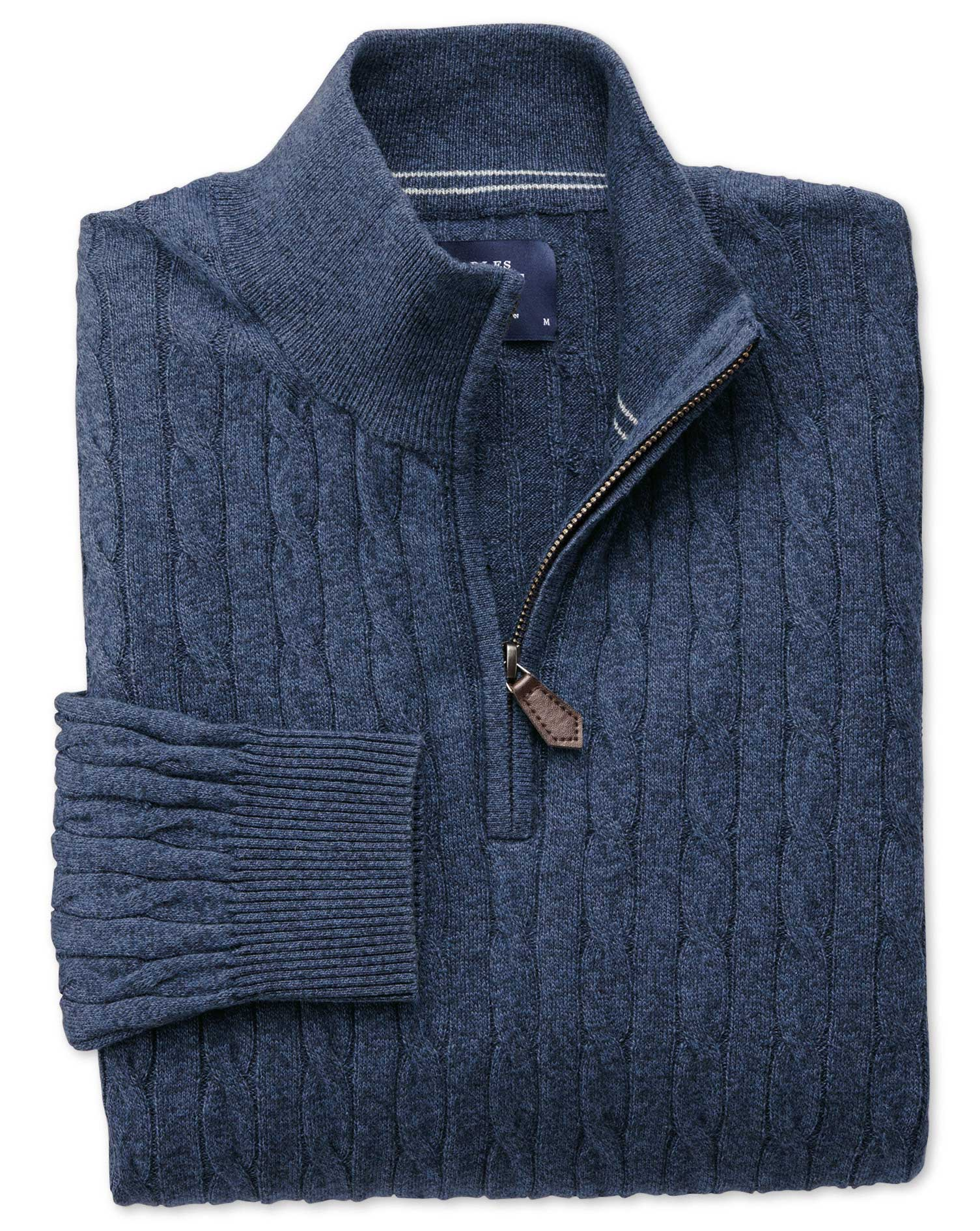 Indigo Cotton Cashmere Cable Zip Neck Jumper Size Large by Charles Tyrwhitt