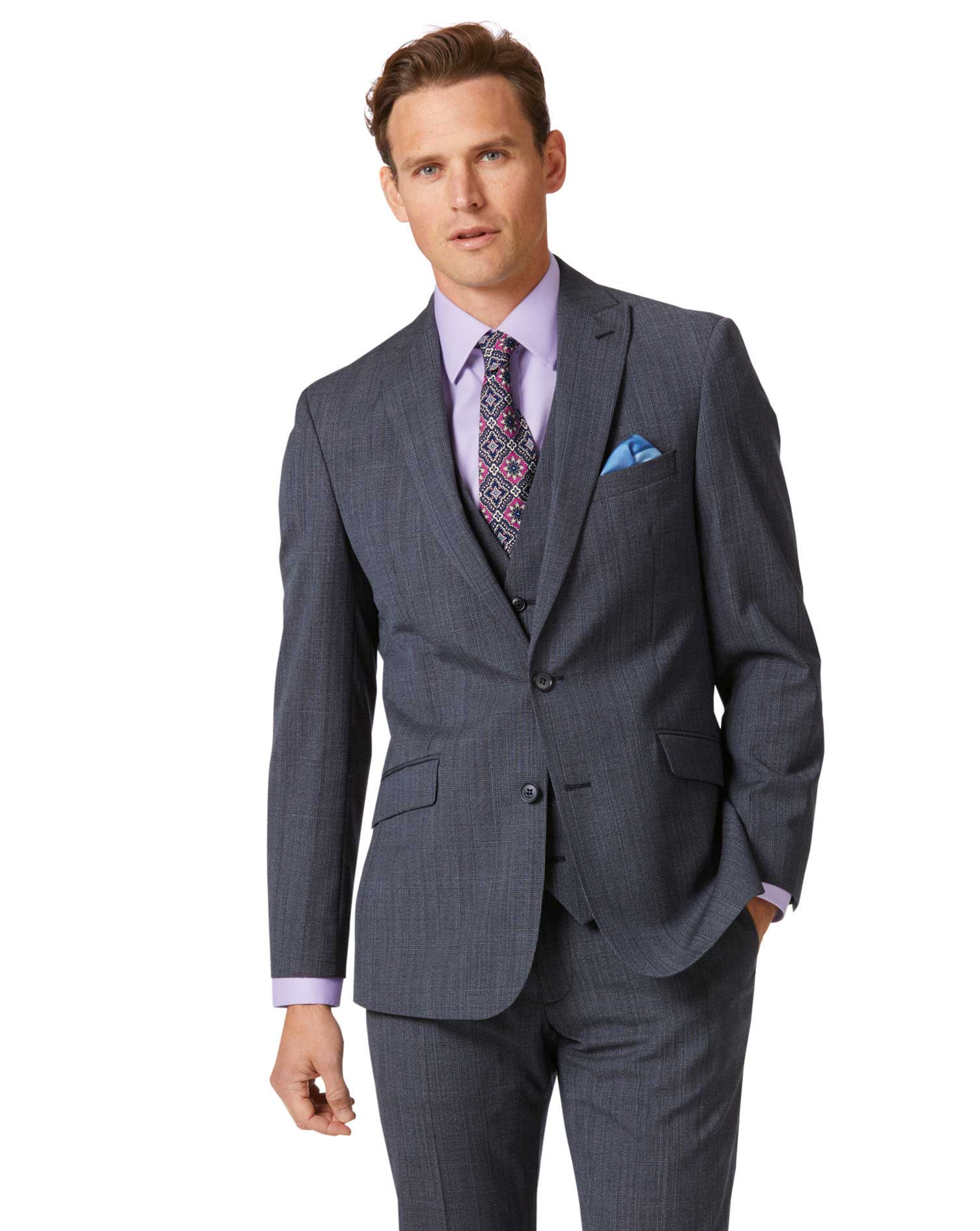 Image of Charles Tyrwhitt Airforce Blue Check Slim Fit Twist Business Suit Wool Jacket Size 38 Regular by Charles Tyrwhitt