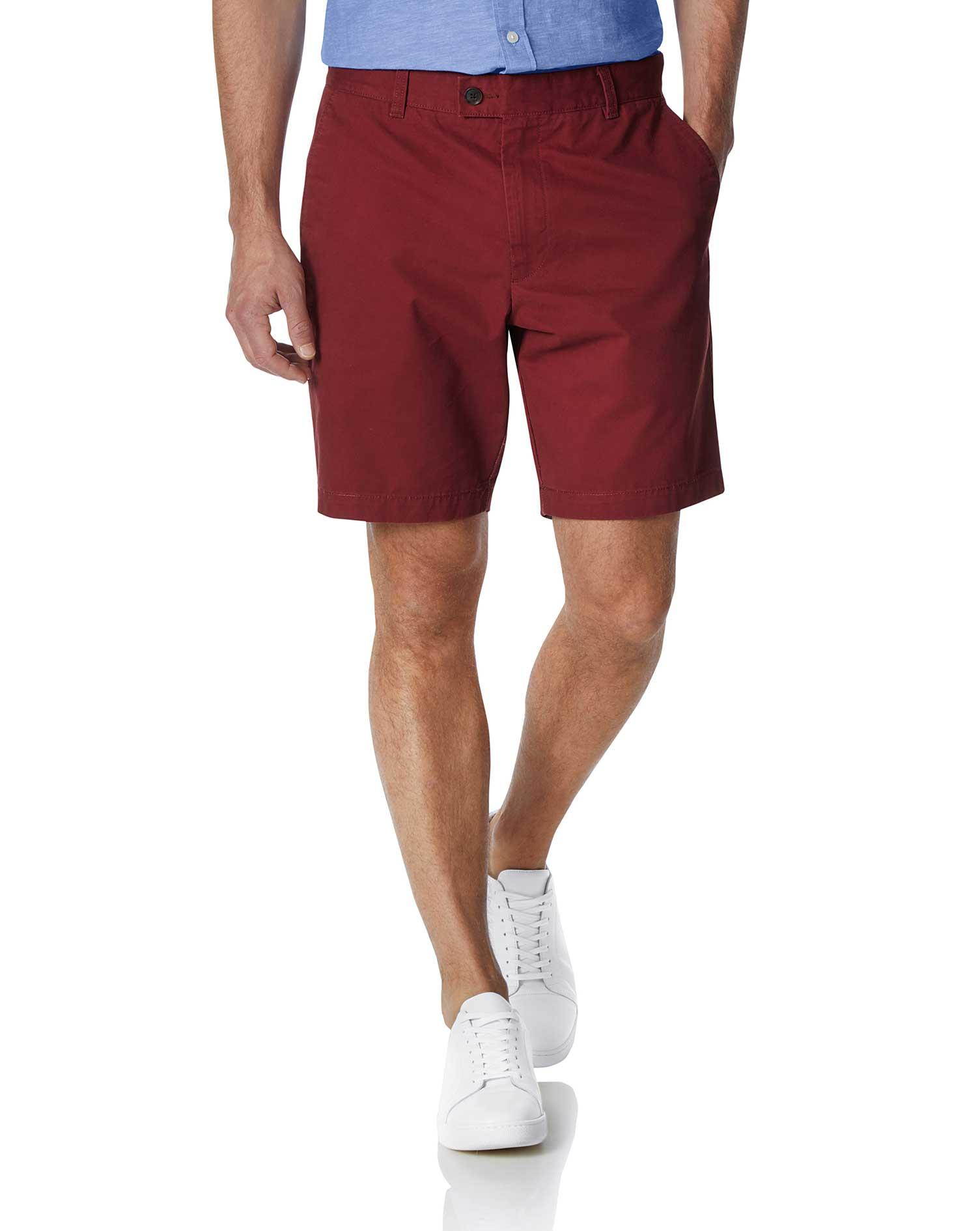 Dark Red Chino Cotton Shorts Size 38 by Charles Tyrwhitt