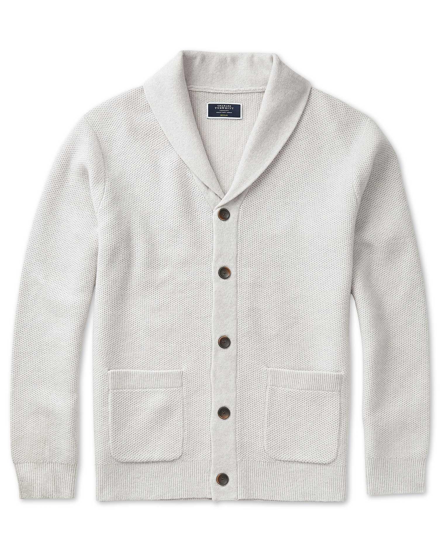 Wool Silver Grey Textured Merino Shawl Neck Cardigan