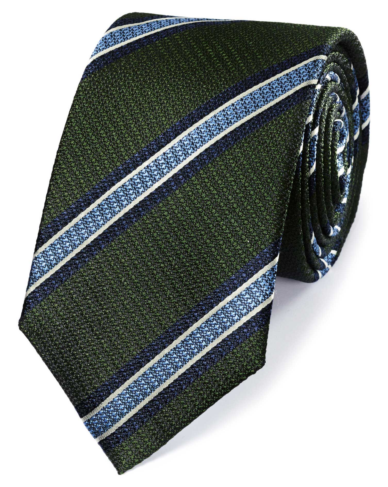 Green and Sky Silk Textured Stripe Classic Tie Size OSFA by Charles Tyrwhitt