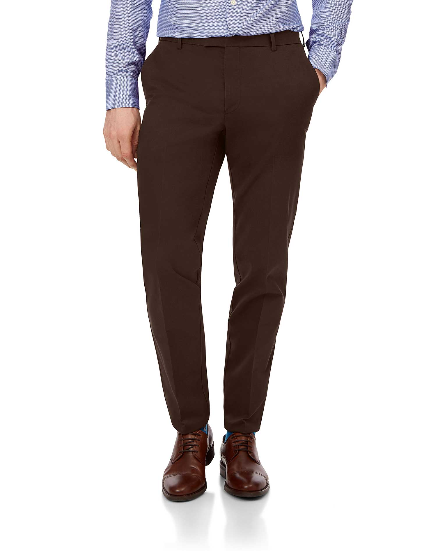 Cotton Chestnut Flat Front Non-Iron Chinos