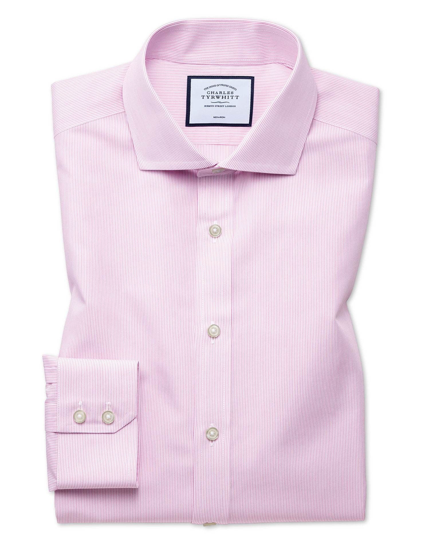 Extra Slim Fit Non-Iron Natural Cool Poplin Pink Cotton Formal Shirt Single Cuff Size 16.5/35 by Cha