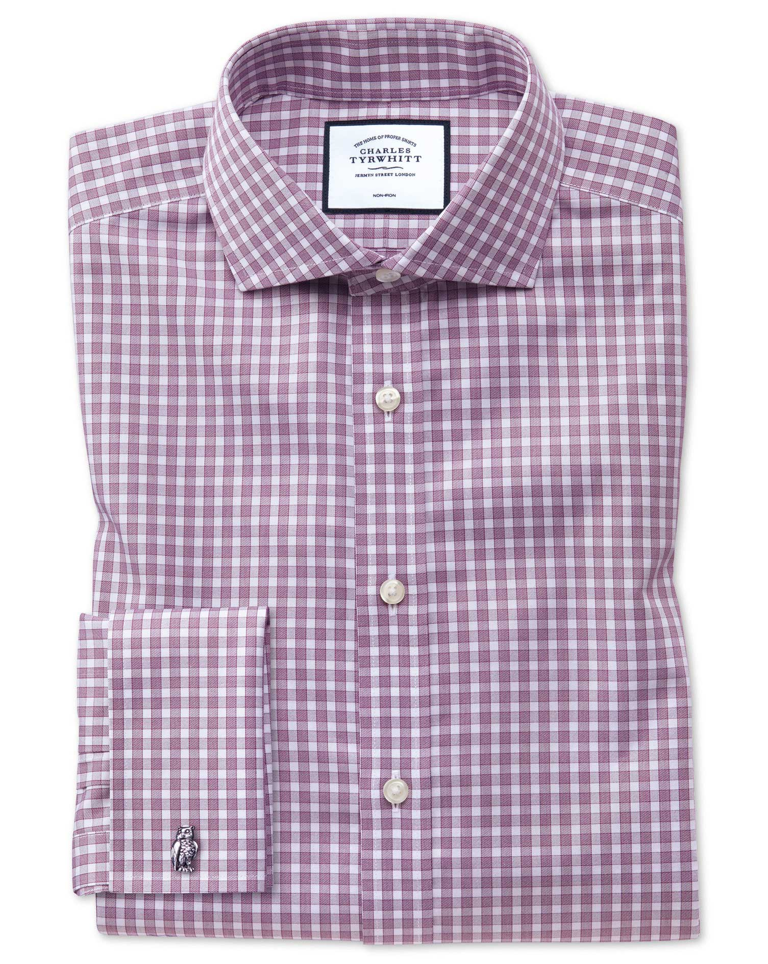 Extra Slim Fit Non-Iron Twill Gingham Berry Cotton Formal Shirt Single Cuff Size 14.5/32 by Charles