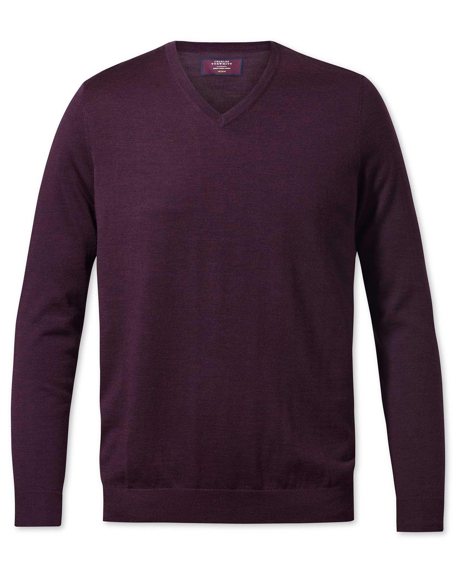 Wine V-Neck Merino-Silk Wool Jumper Size XS by Charles Tyrwhitt