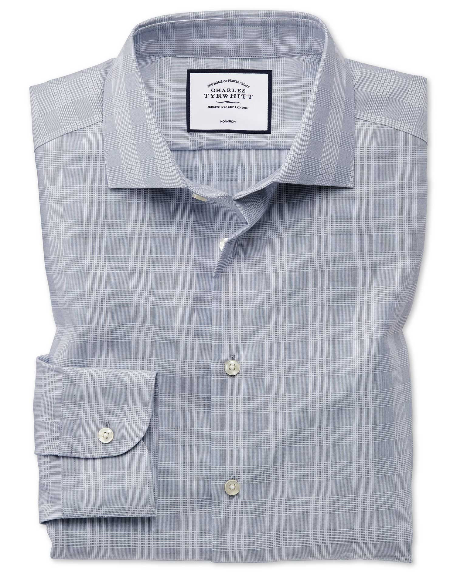 Classic Fit Business Casual Non-Iron Grey Check Cotton Formal Shirt Single Cuff Size 18/36 by Charle