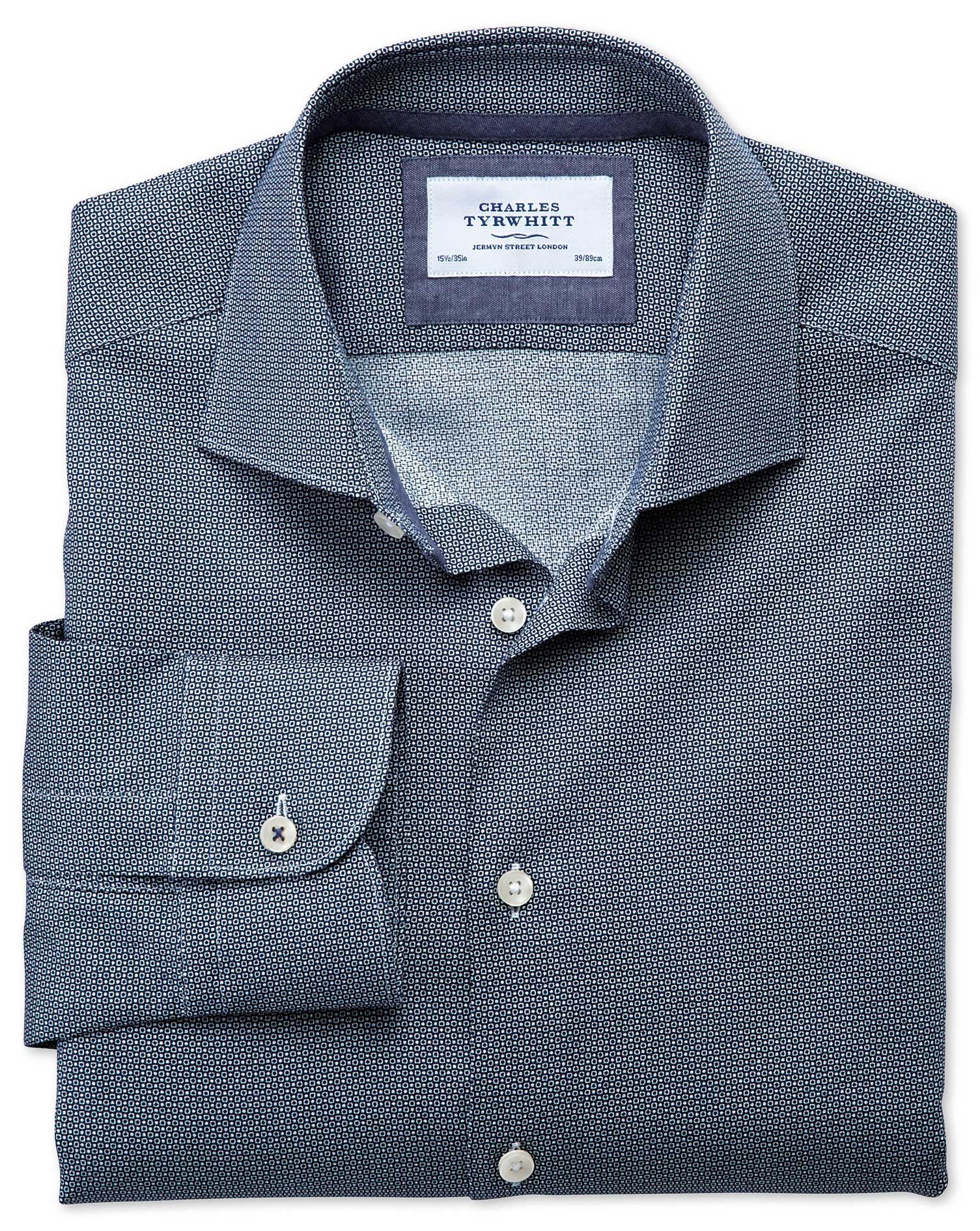 Slim Fit Semi-Cutaway Collar Business Casual Circle Print Navy Egyptian Cotton Formal Shirt Single C