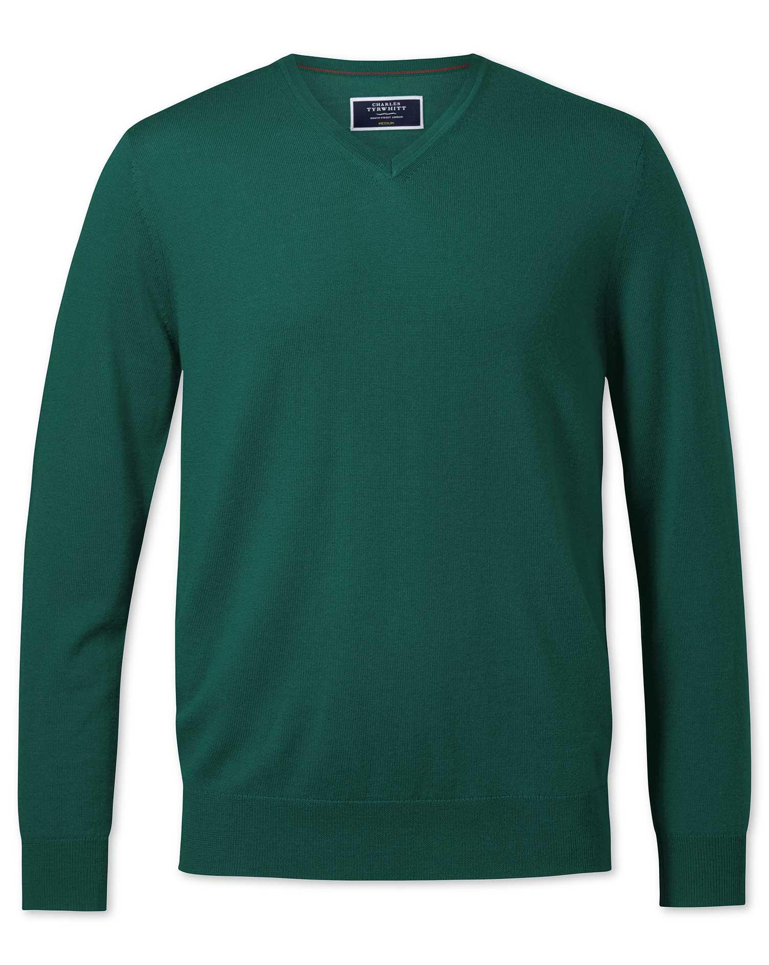 Dark Green Merino V-Neck Merino Wool Jumper Size Medium by Charles Tyrwhitt
