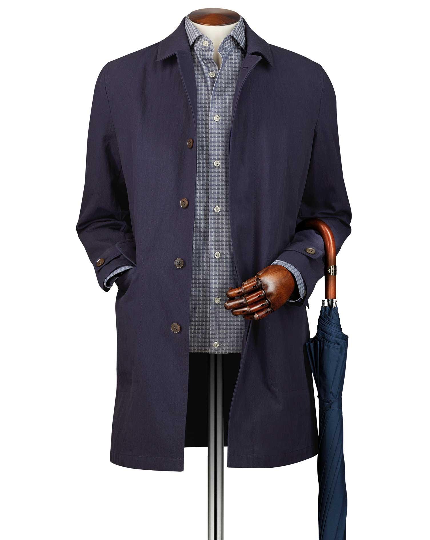 Navy Italian Cotton RainCotton coat Size 38 Regular by Charles Tyrwhitt
