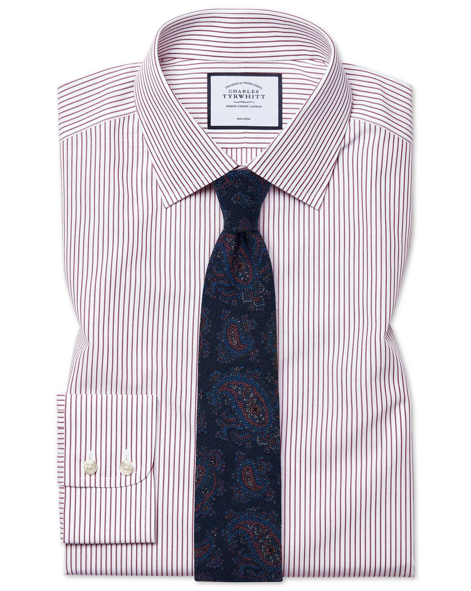 Cotton Slim Fit Non-Iron Stripe Burgundy Shirt
