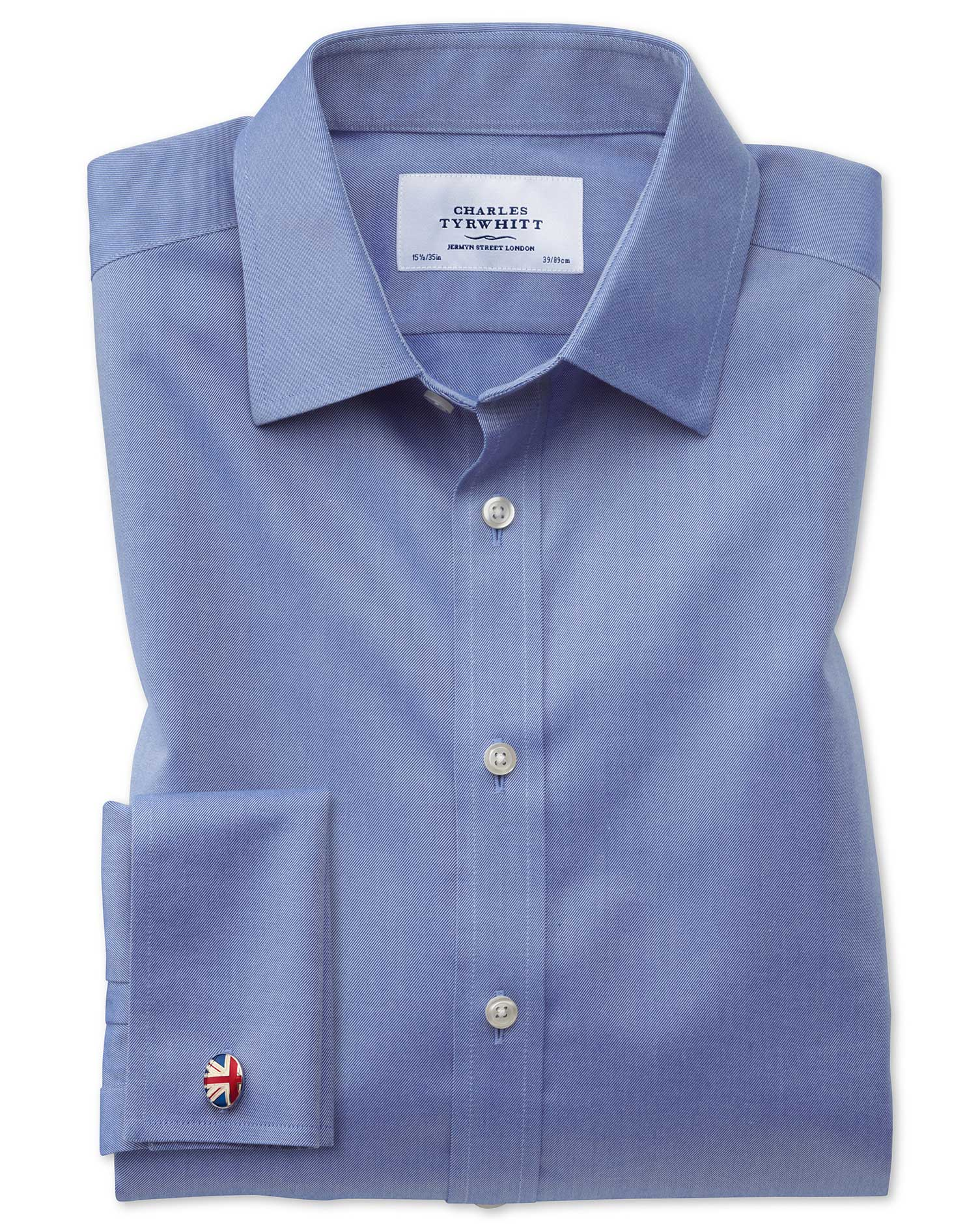 Extra Slim Fit Non-Iron Twill Mid Blue Cotton Formal Shirt Single Cuff Size 15.5/32 by Charles Tyrwh