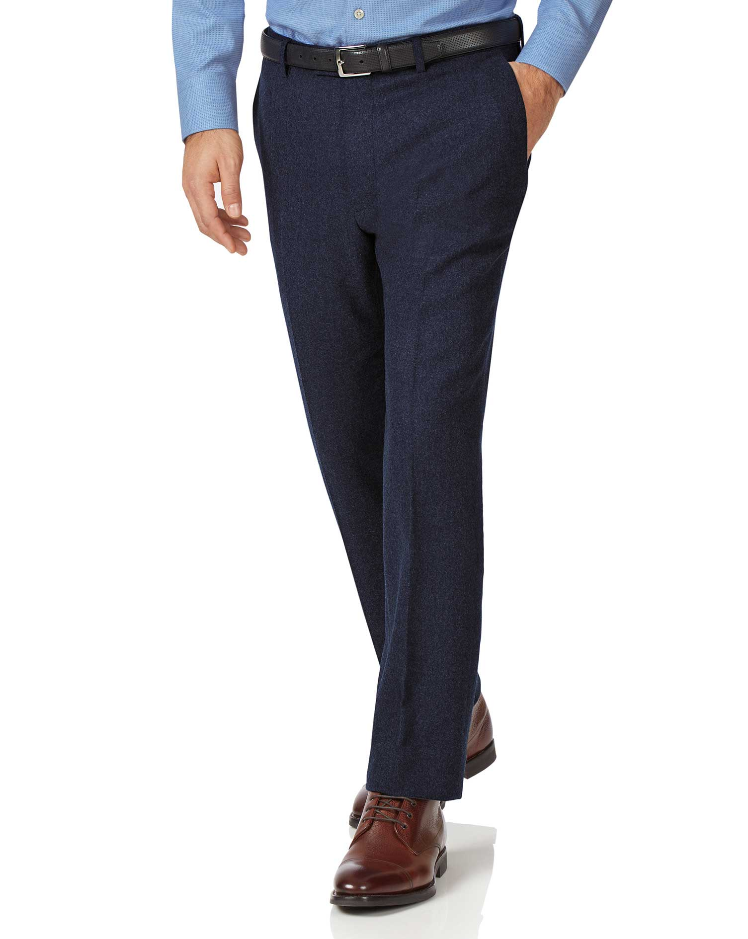 Navy Slim Fit Wool Flannel Trousers Size W40 L32 by Charles Tyrwhitt