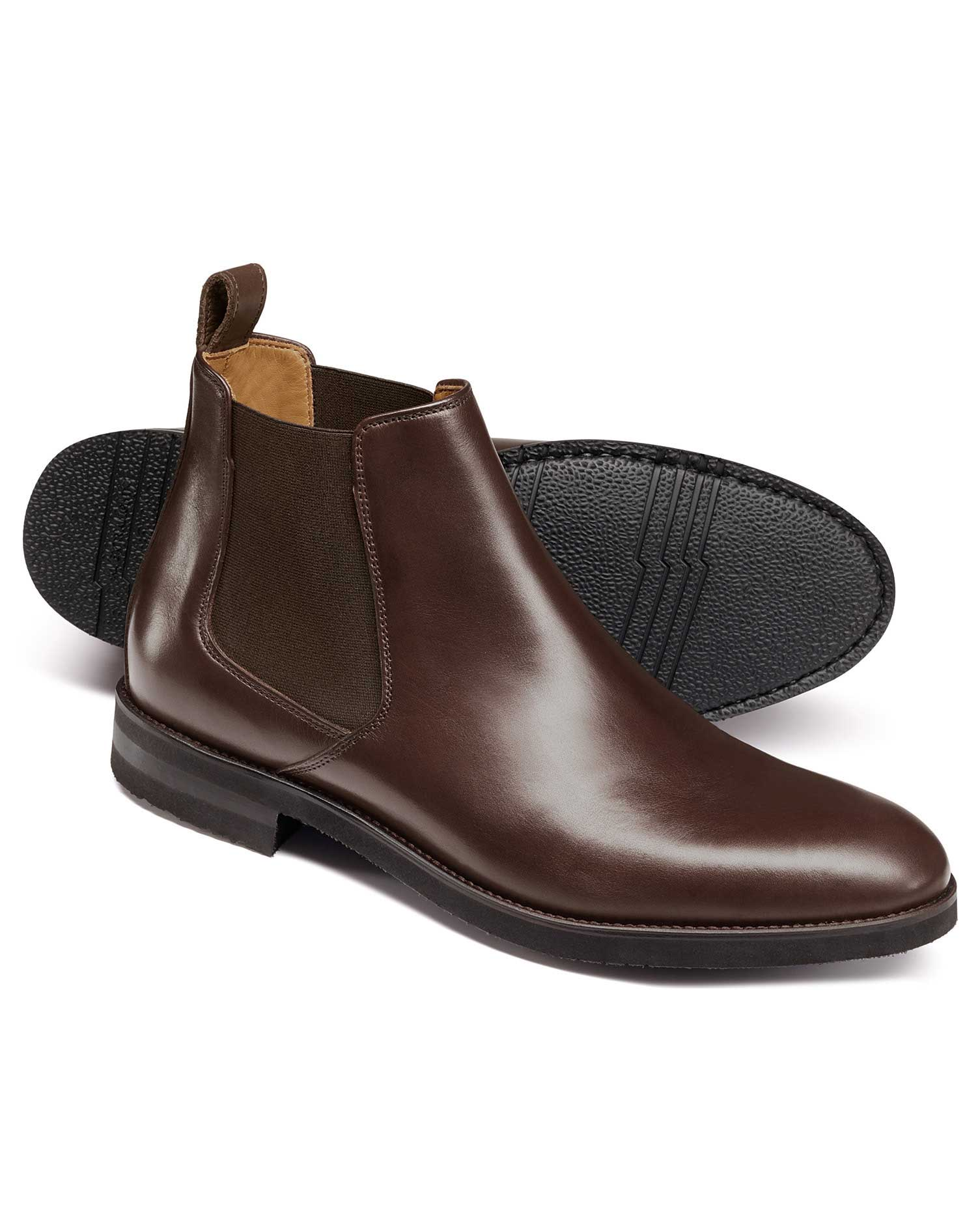Chocolate Extra Lightweight Chelsea Boots Size 9 R by Charles Tyrwhitt