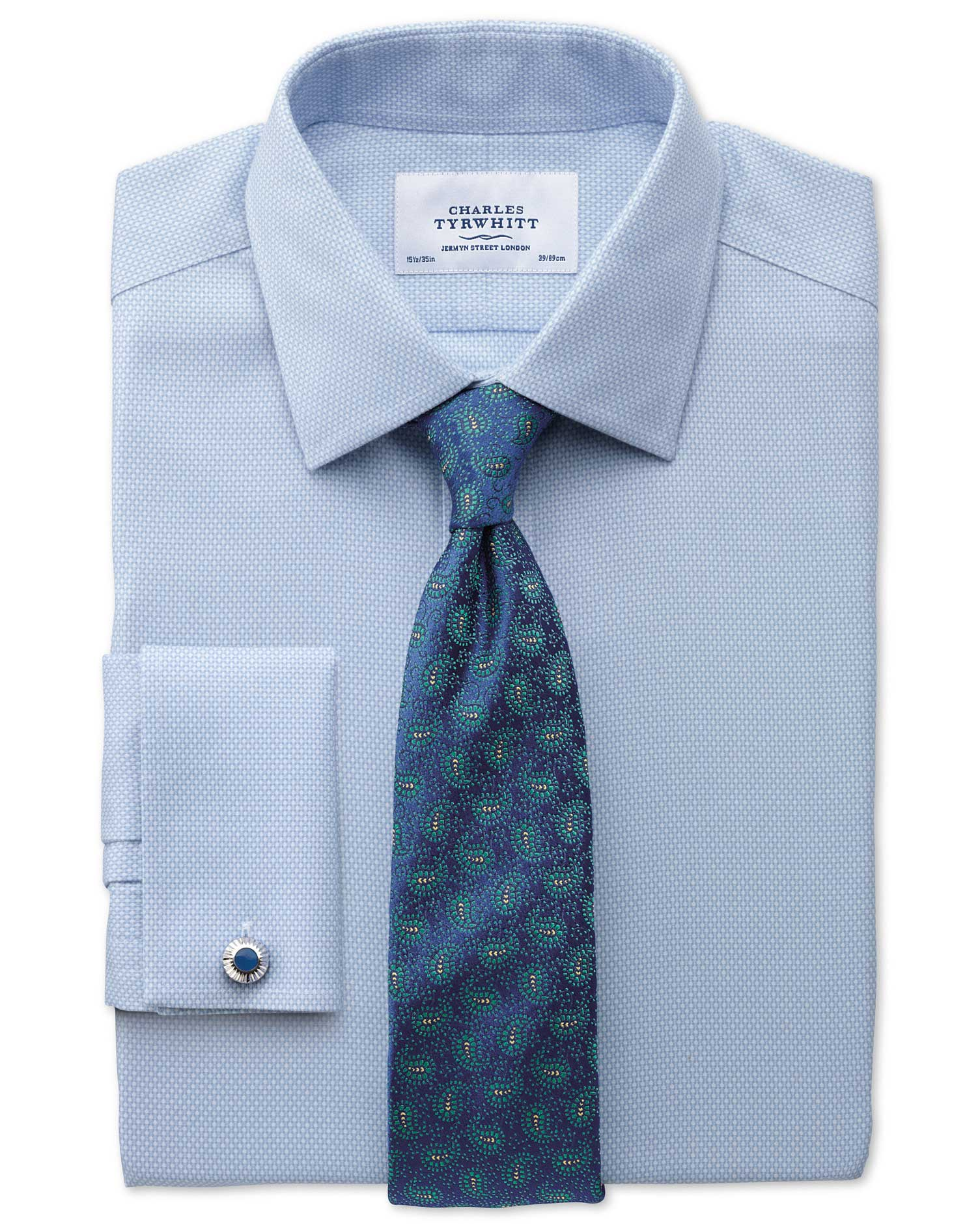 Classic Fit Non Iron Honeycomb Sky Blue Shirt Charles