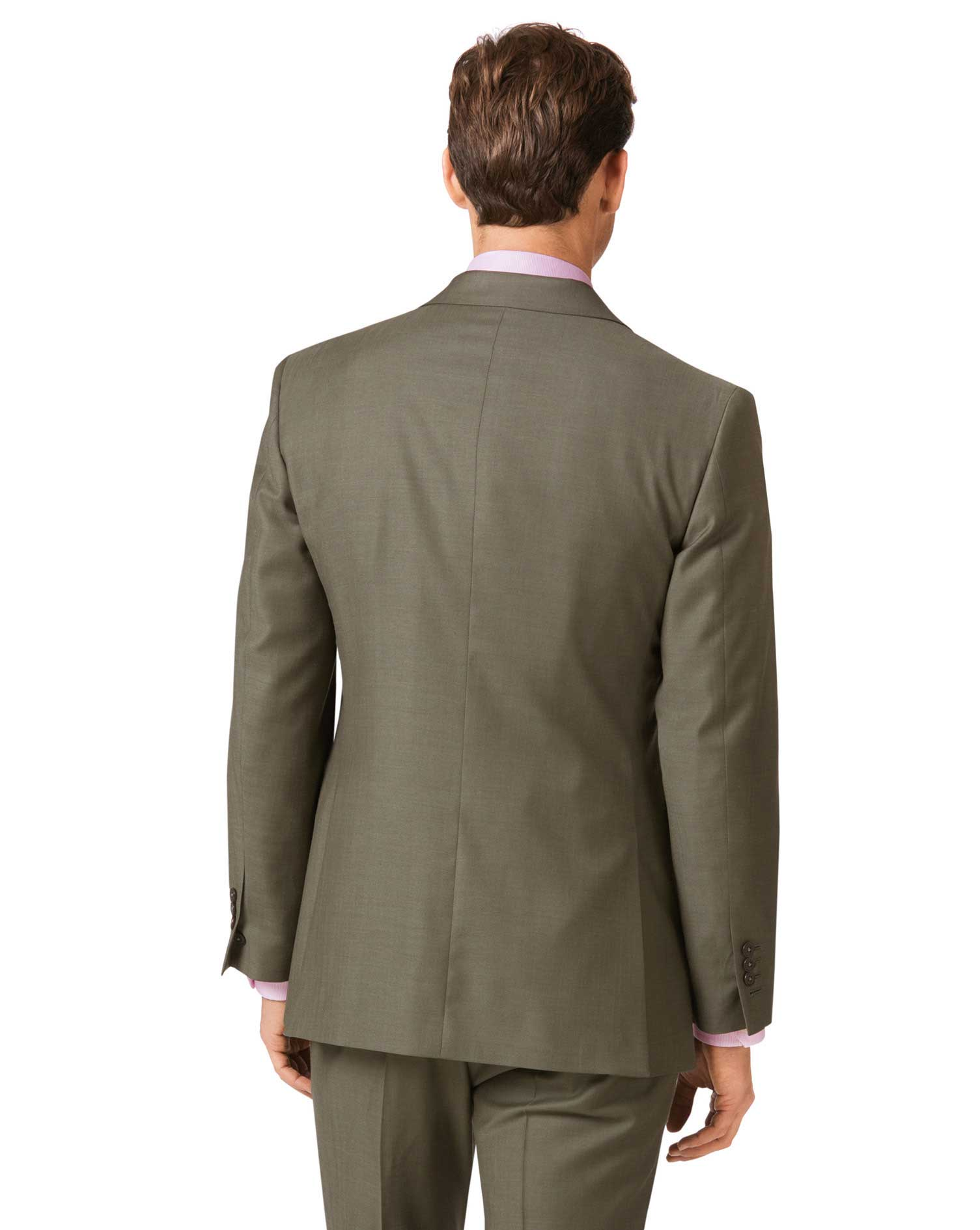 Olive slim fit twill business suit jacket