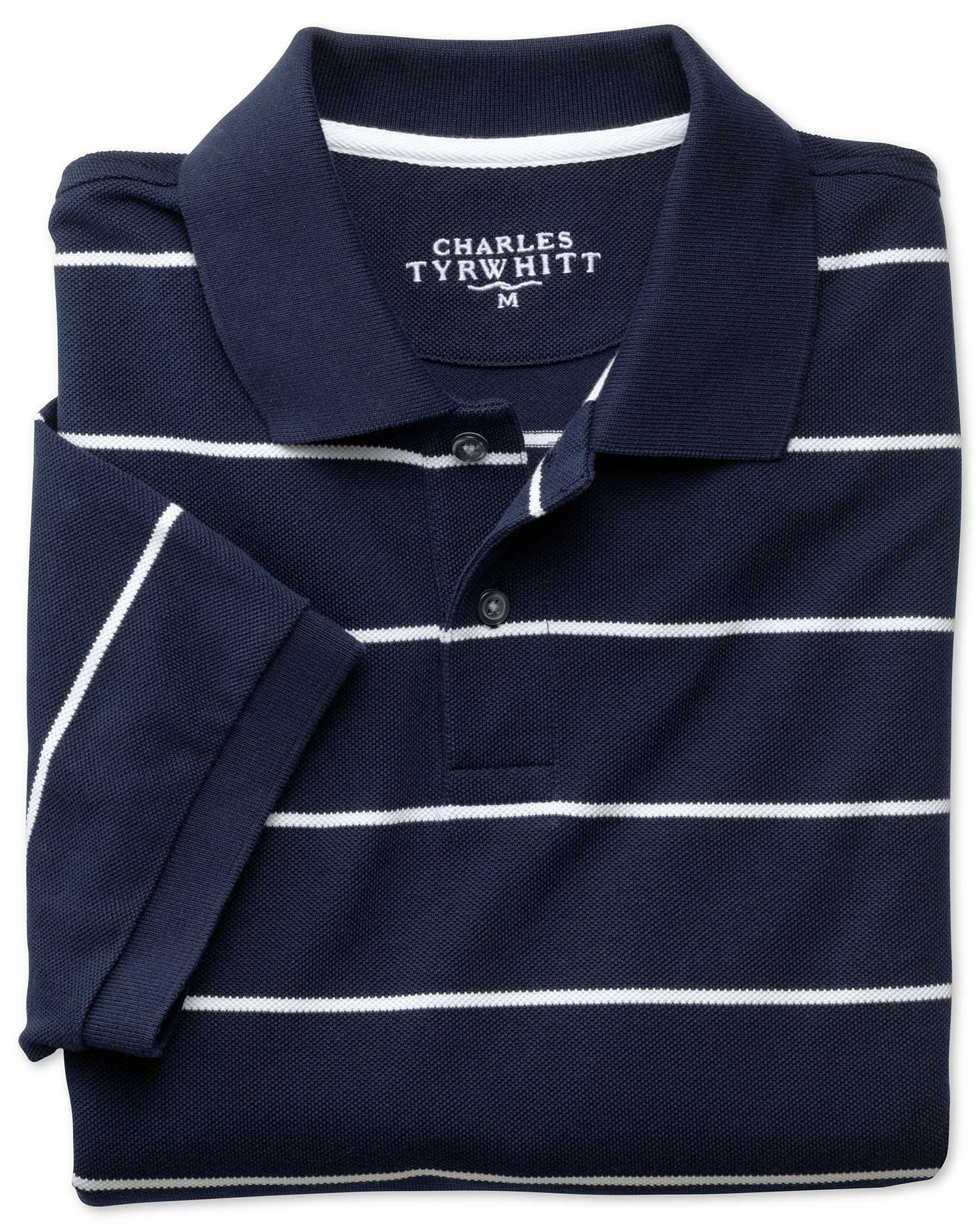 Navy and White Stripe Pique Cotton Polo Size XL by Charles Tyrwhitt