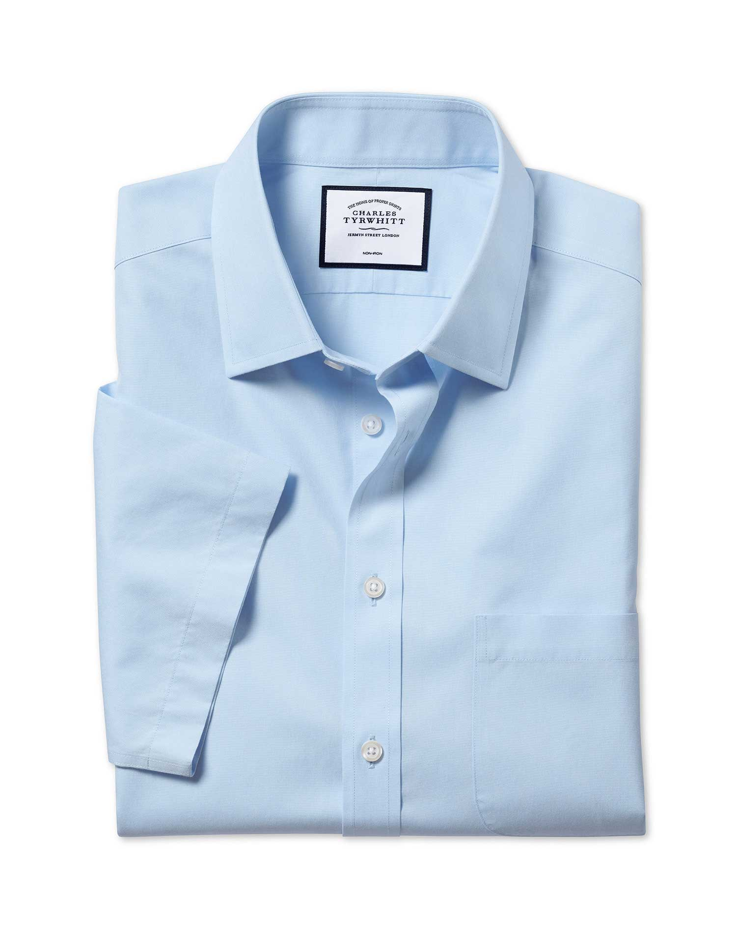 Classic Fit Non-Iron Natural Cool Short Sleeve Sky Blue Cotton Formal Shirt Size 16/Short by Charles