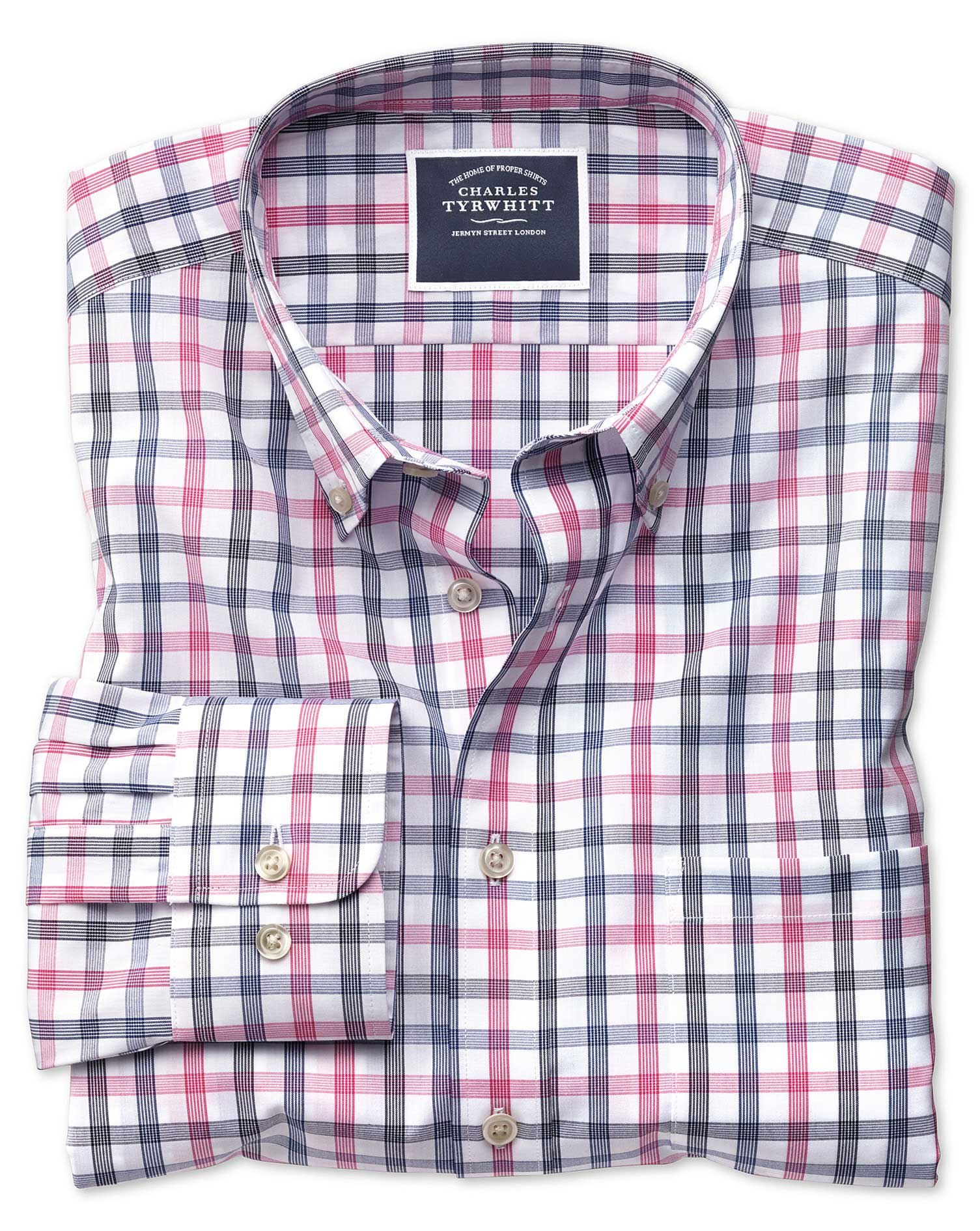 Extra Slim Fit Non-Iron White and Pink Large Check Cotton Shirt Single Cuff Size XS by Charles Tyrwh