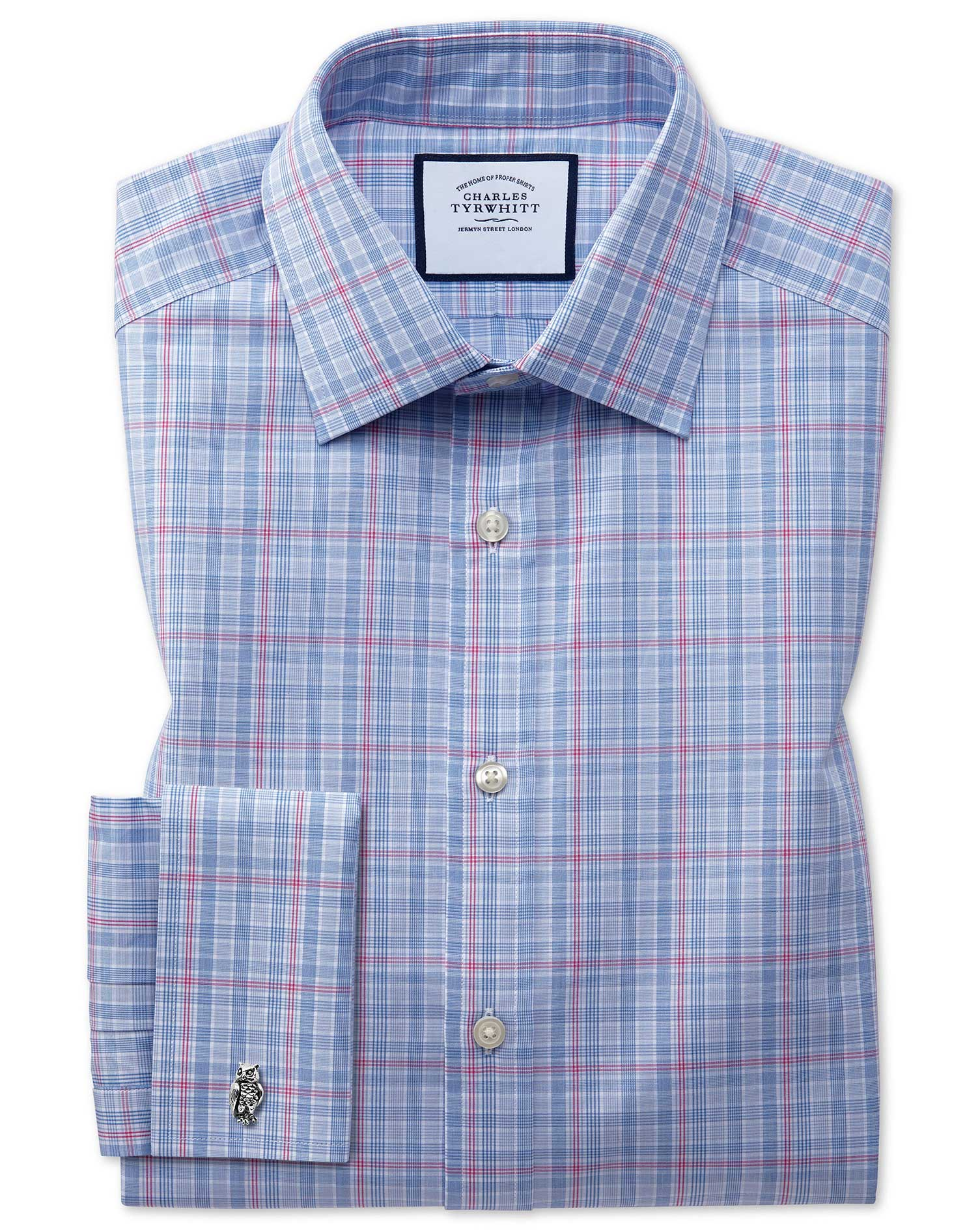 Classic Fit Blue and Pink Prince Of Wales Check Cotton Formal Shirt Double Cuff Size 17/36 by Charle