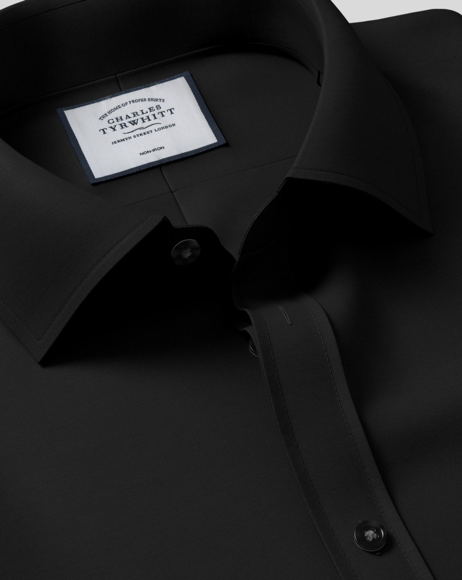 Classic Fit Black Non-Iron Poplin Cotton Formal Shirt Single Cuff Size 15.5/33 by Charles Tyrwhitt