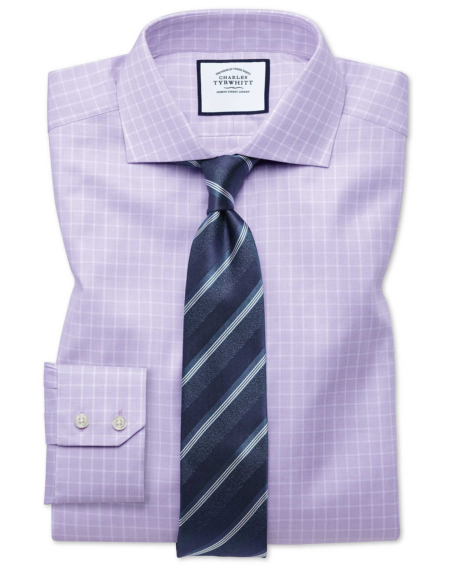 Slim Fit Textured Check Lilac Cotton Formal Shirt Single Cuff Size 16.5/36 by Charles Tyrwhitt