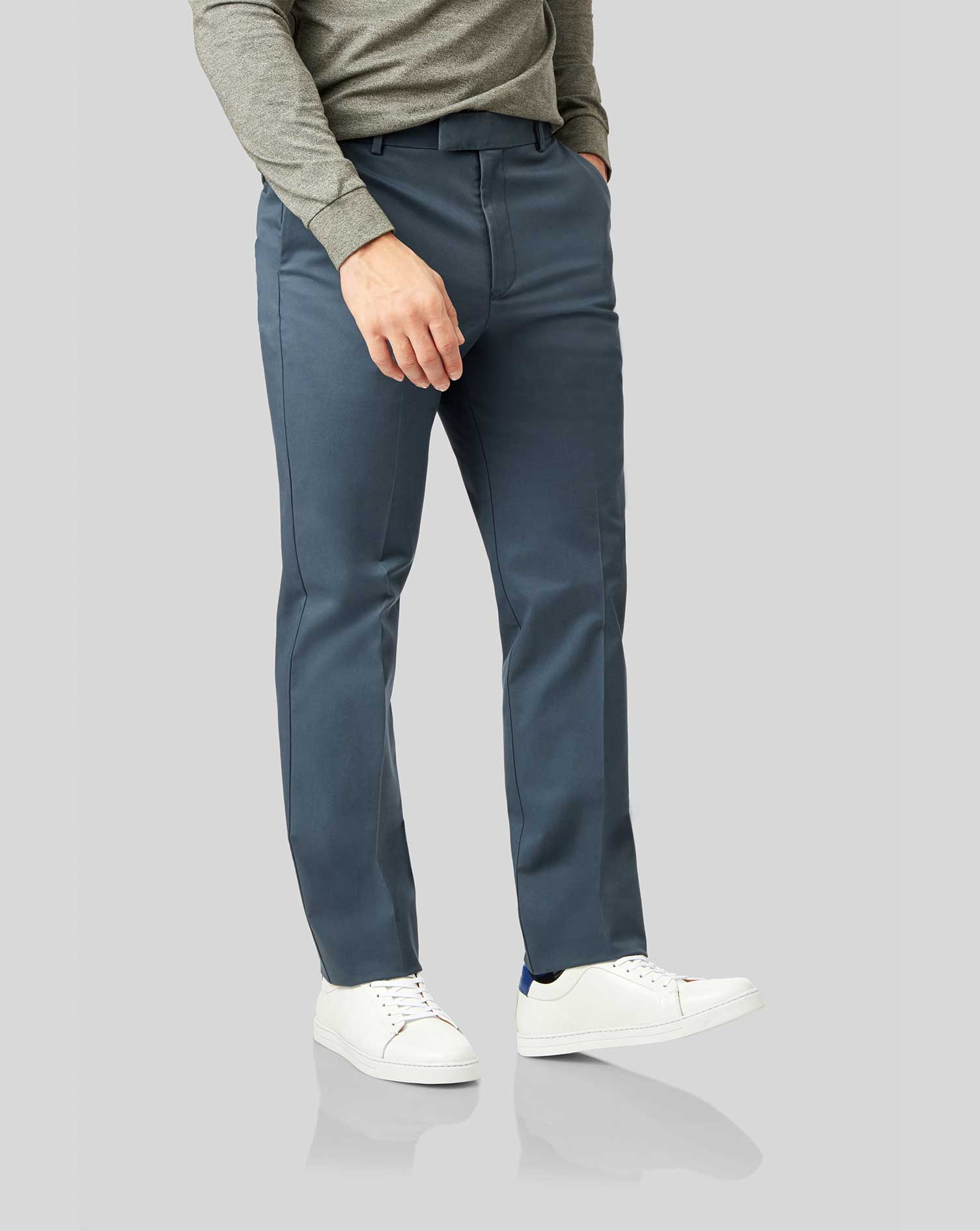 Cotton Airforce Blue Flat Front Non-Iron Chinos