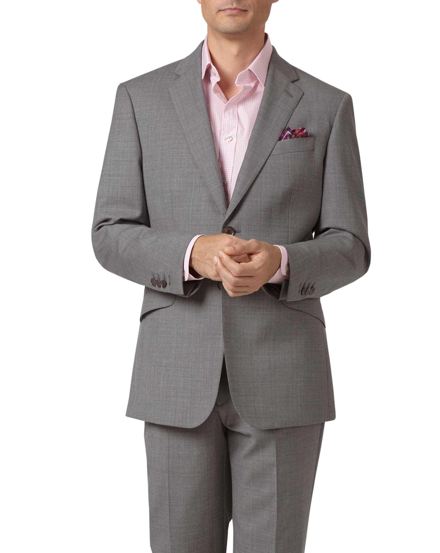 Silver Classic Fit Cross Hatch Weave Italian Suit Wool Jacket Size 44 Short by Charles Tyrwhitt