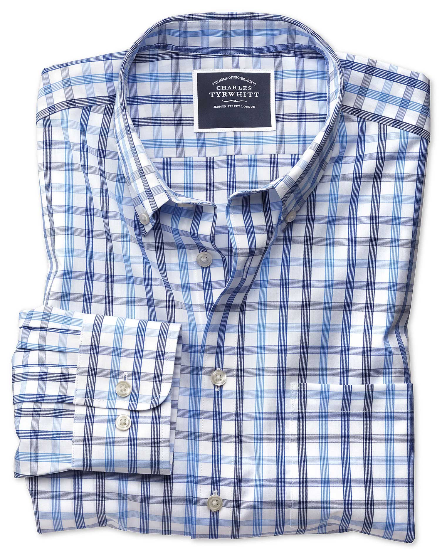 Classic Fit Non-Iron White and Blue Large Check Cotton Shirt Single Cuff Size XL by Charles Tyrwhitt