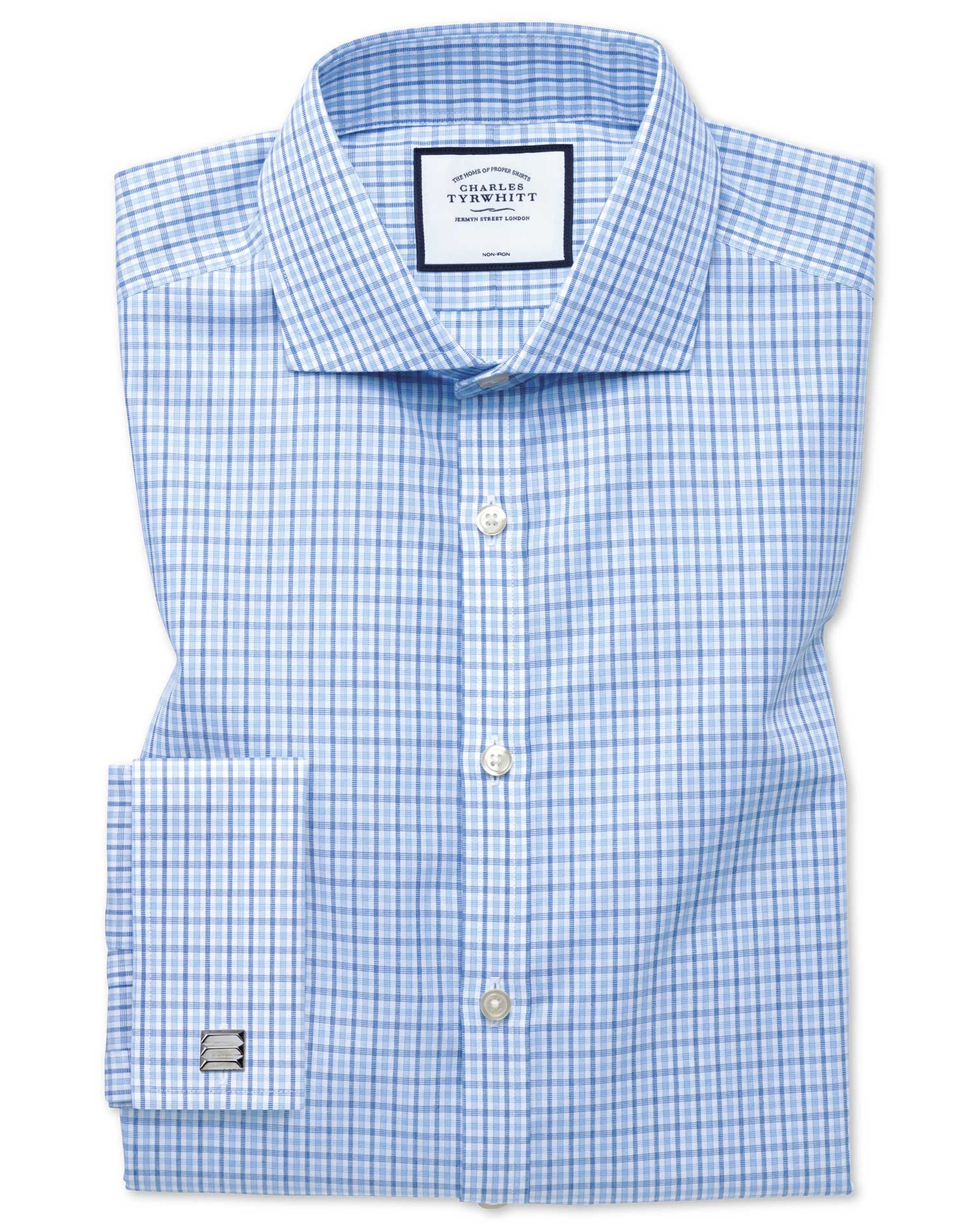 Extra Slim Fit Cutaway Non-Iron Poplin Blue and Sky Blue Cotton Formal Shirt Single Cuff Size 16.5/3