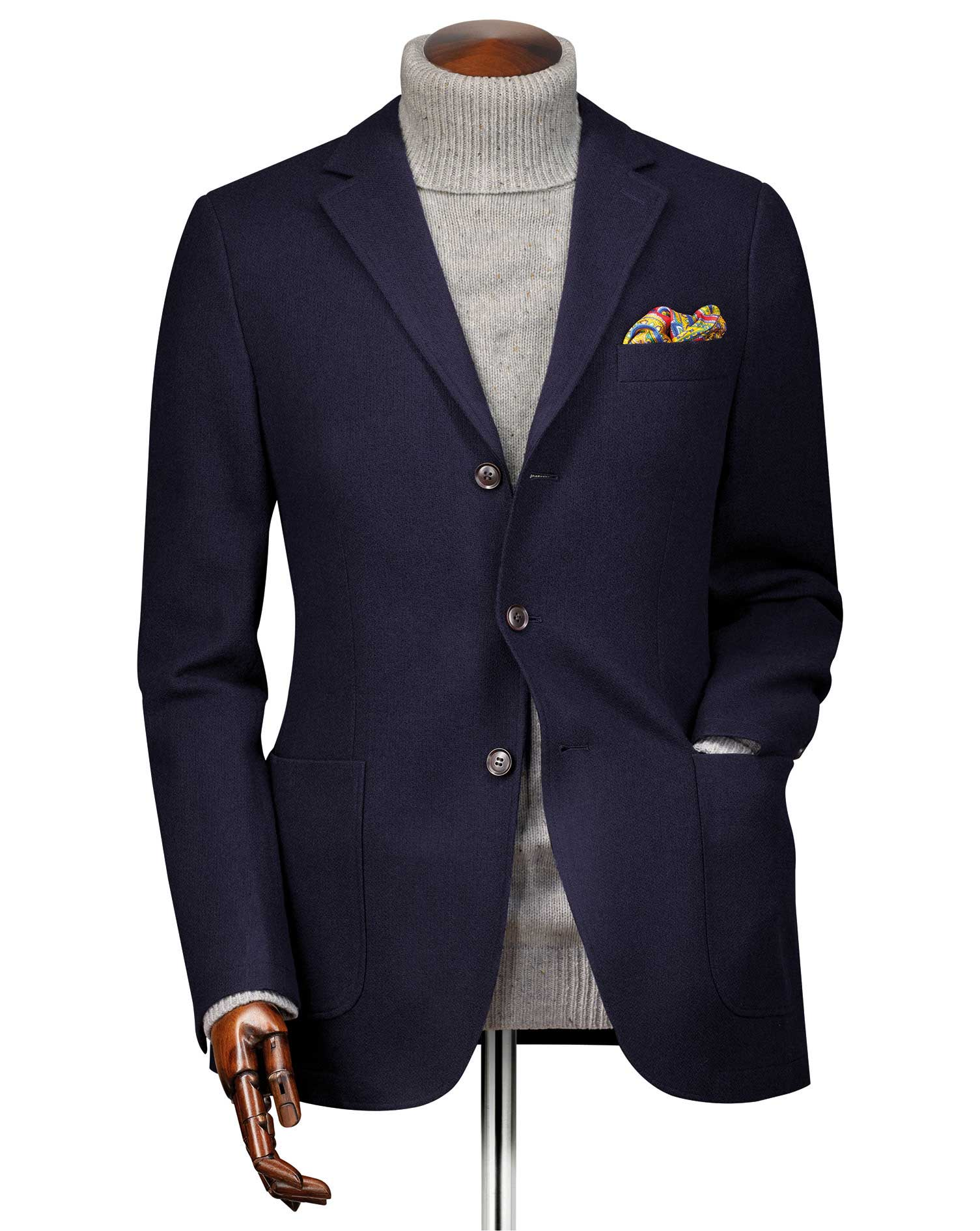 Slim Fit Navy Textured Wool Jacket Size 38 Regular by Charles Tyrwhitt