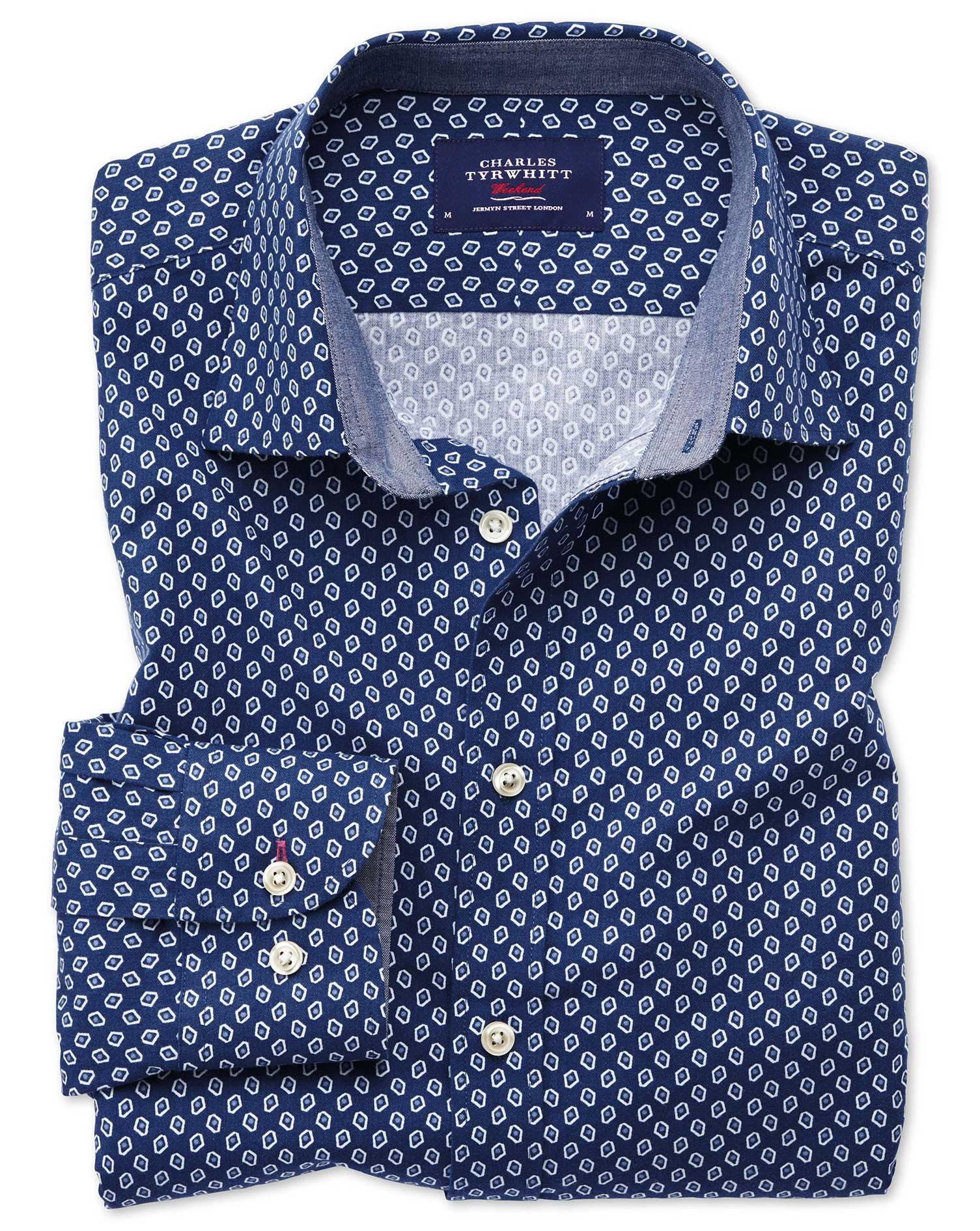 Classic Fit Blue and White Geometric Print Cotton Shirt Single Cuff Size Medium by Charles Tyrwhitt