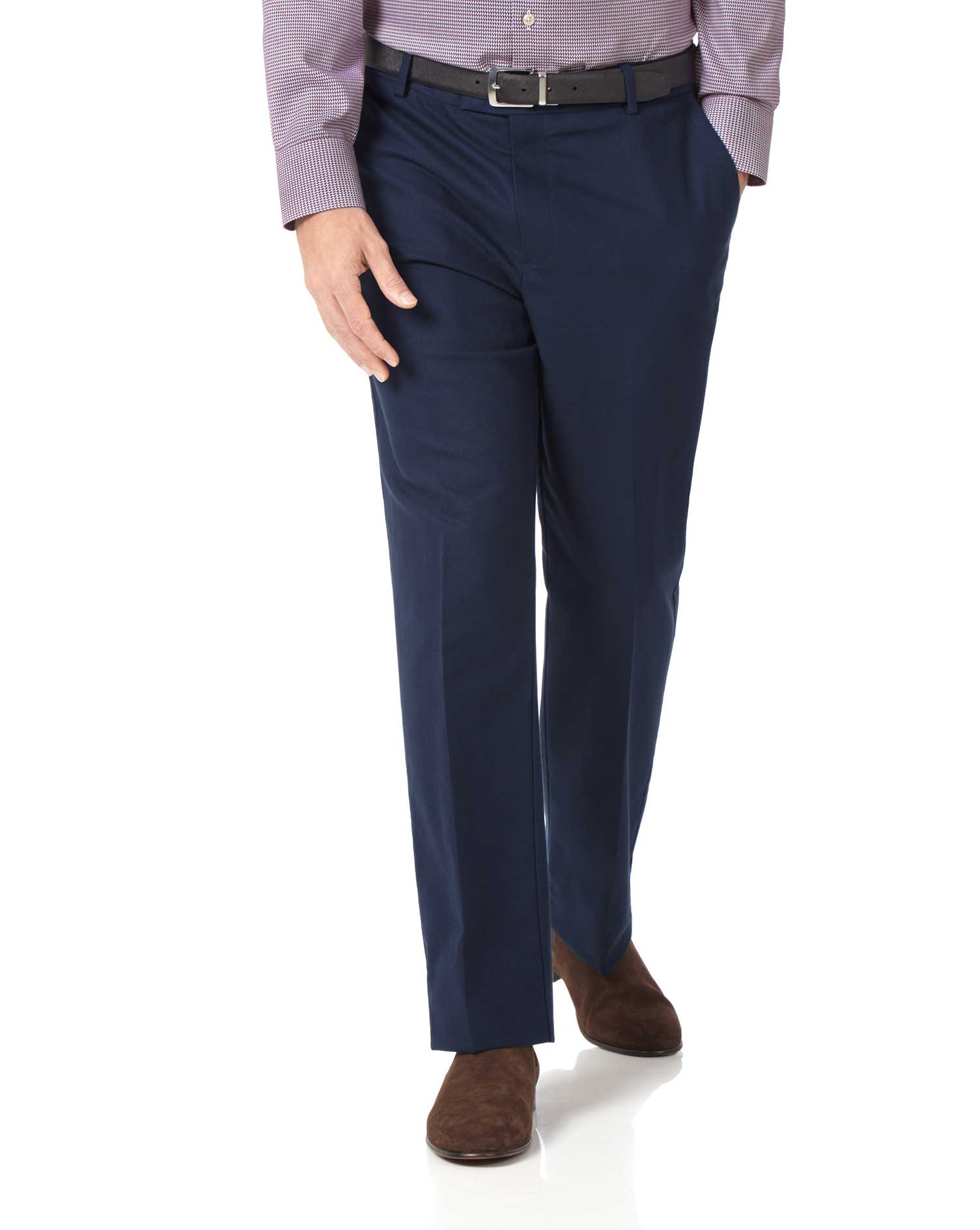 Navy Classic Fit Stretch Non-Iron Trousers Size W36 L32 by Charles Tyrwhitt